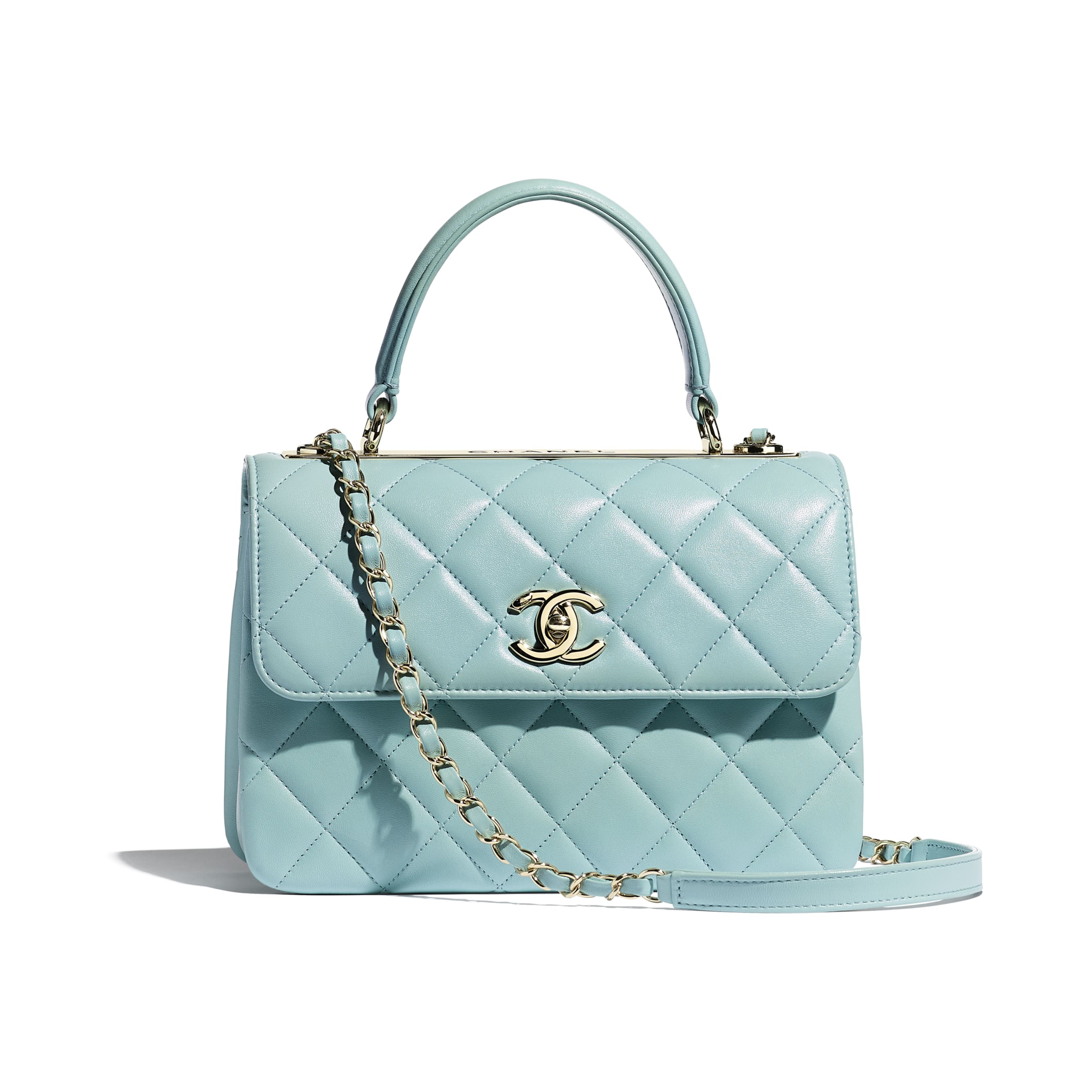 Small Flap Bag With Top Handle - Light Blue - Lambskin - CHANEL - Default view - see standard sized version