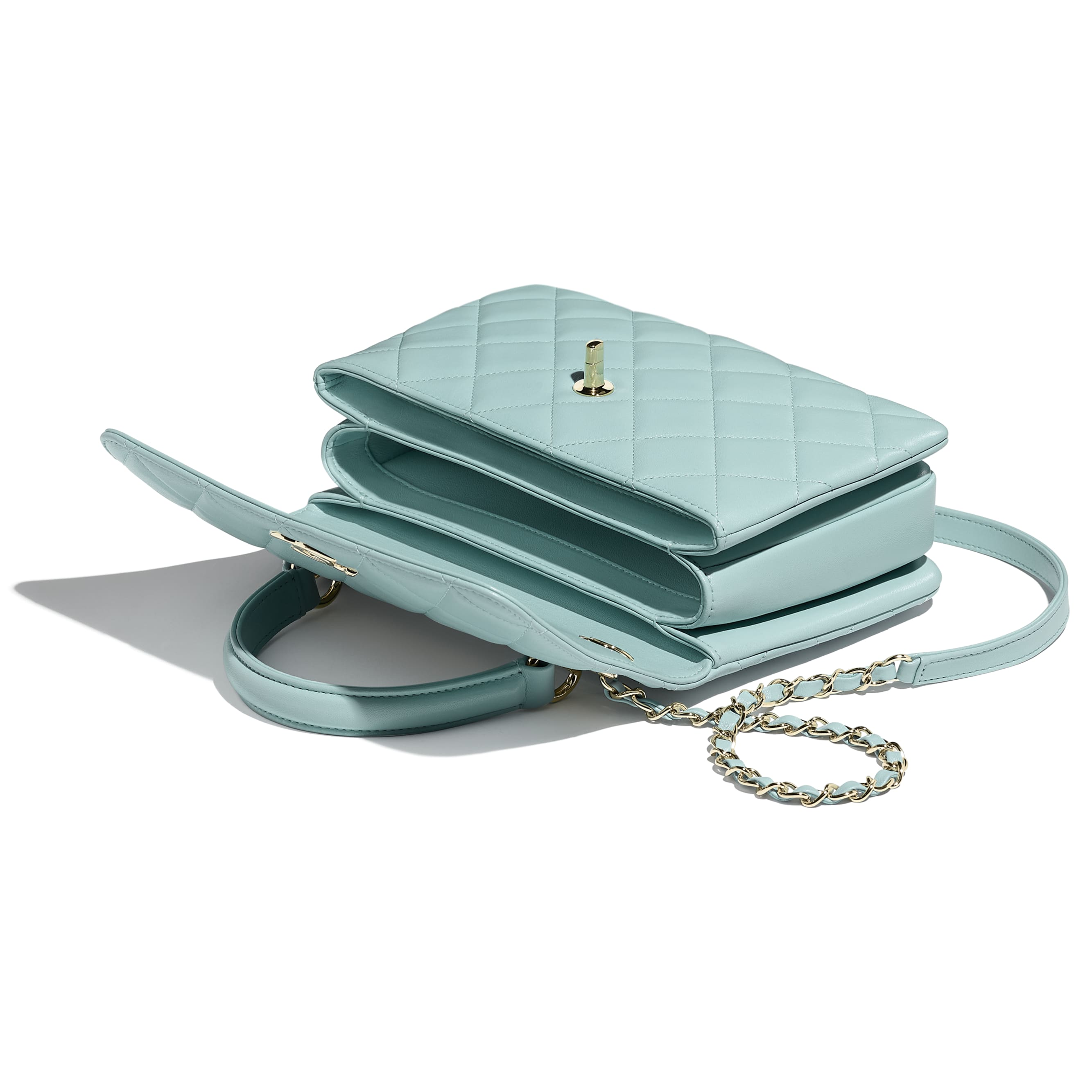 Small Flap Bag With Top Handle - Light Blue - Lambskin - CHANEL - Other view - see standard sized version