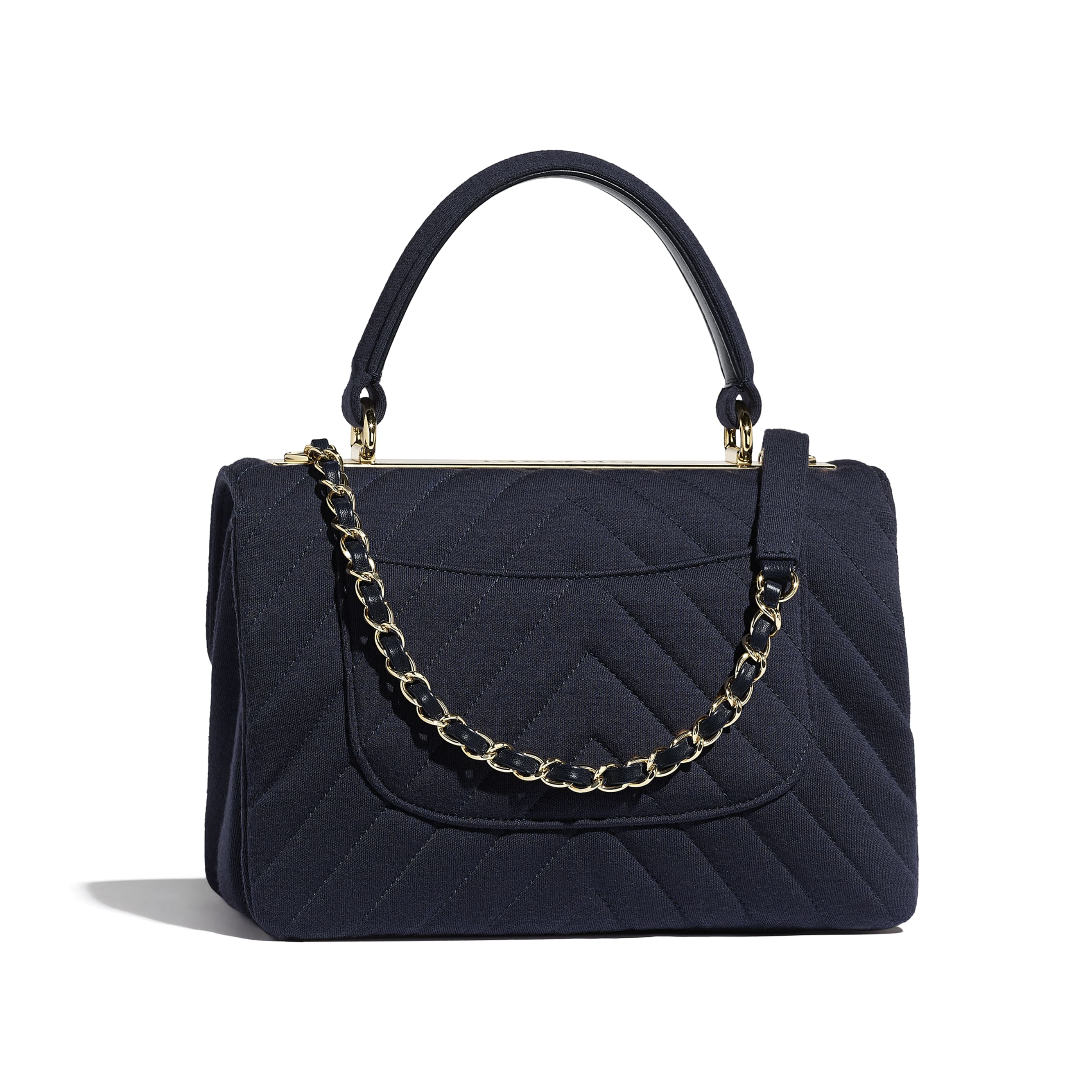 Small Flap Bag with Top Handle - Navy Blue - Jersey & Gold-Tone Metal - Alternative view - see standard sized version