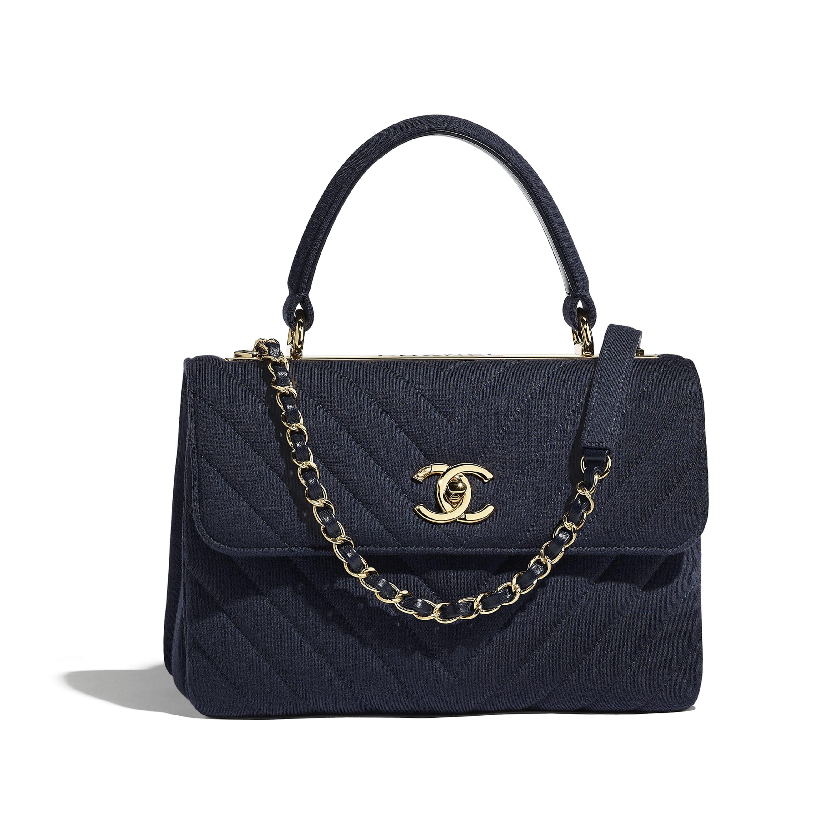 Small Flap Bag with Top Handle - Navy Blue - Jersey & Gold-Tone Metal - Default view - see standard sized version