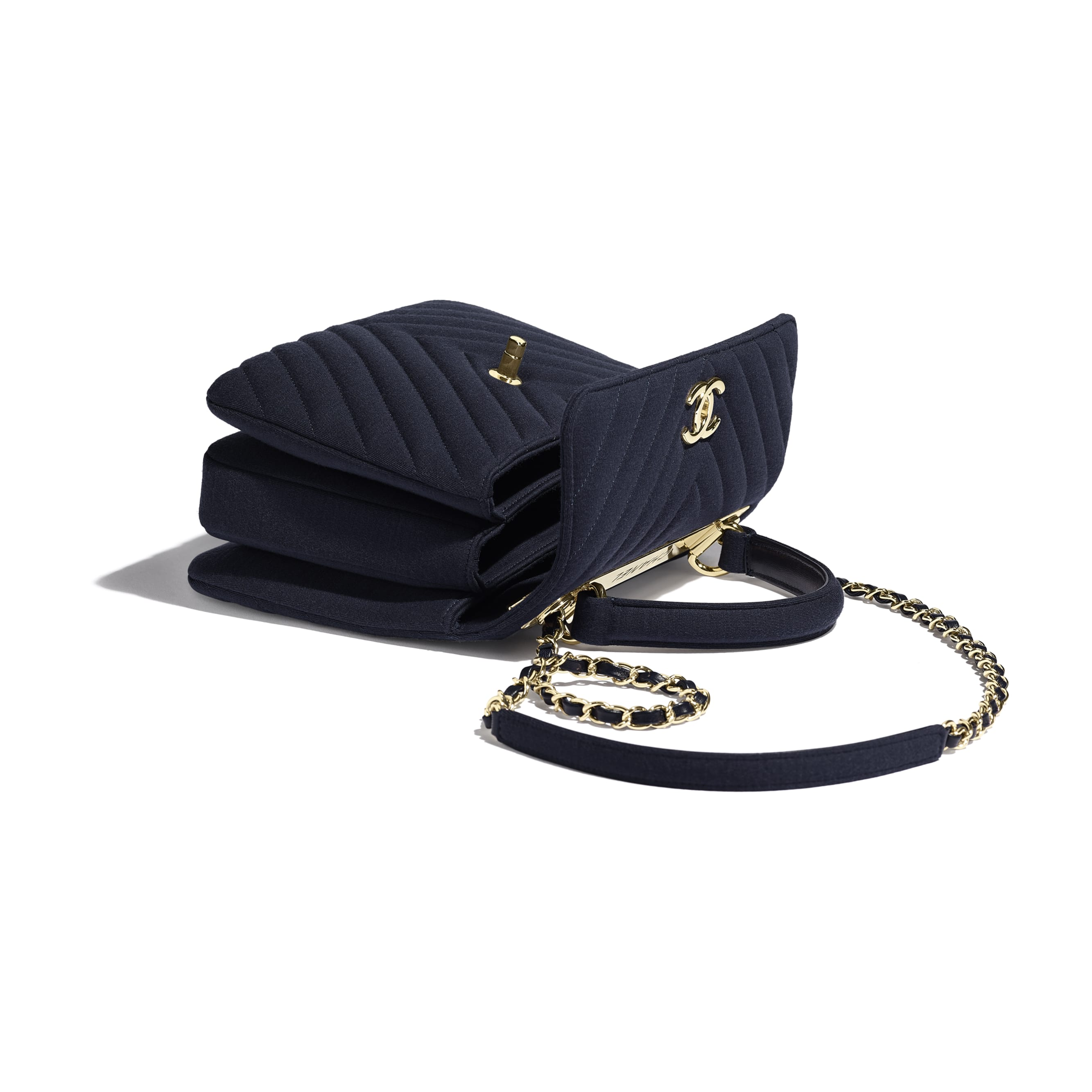 Small Flap Bag with Top Handle - Navy Blue - Jersey & Gold-Tone Metal - Other view - see standard sized version