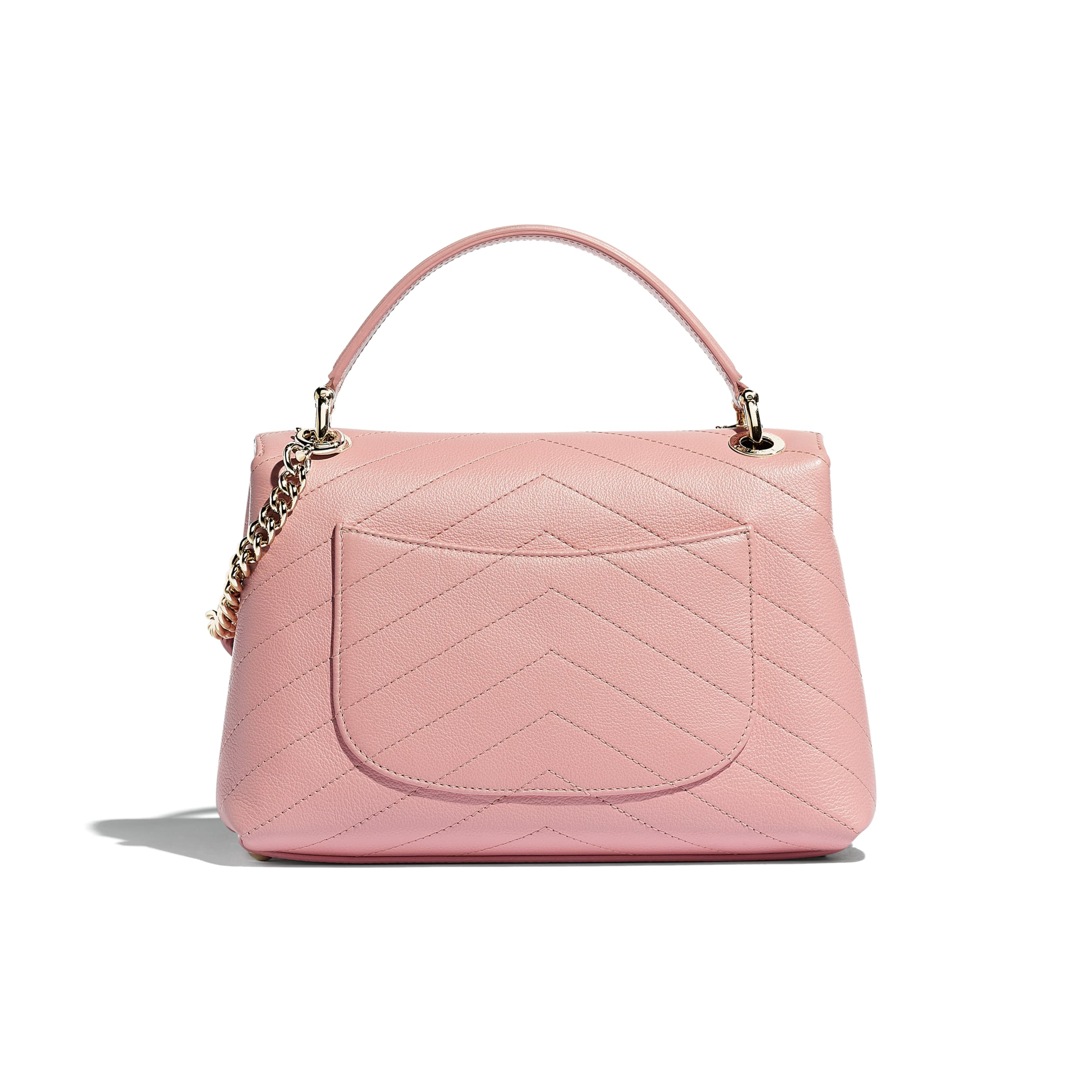 Small Flap Bag with Top Handle - Pink - Grained Calfskin & Gold-Tone Metal - Alternative view - see standard sized version