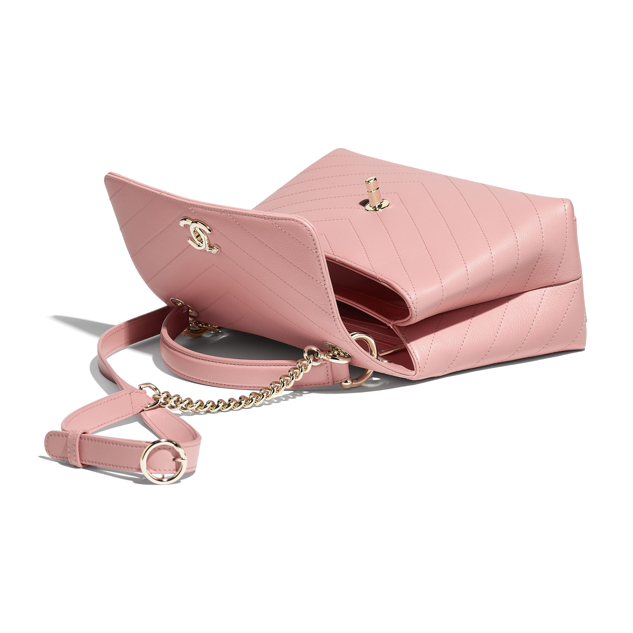Small Flap Bag with Top Handle - Pink - Grained Calfskin & Gold-Tone Metal - Other view - see standard sized version