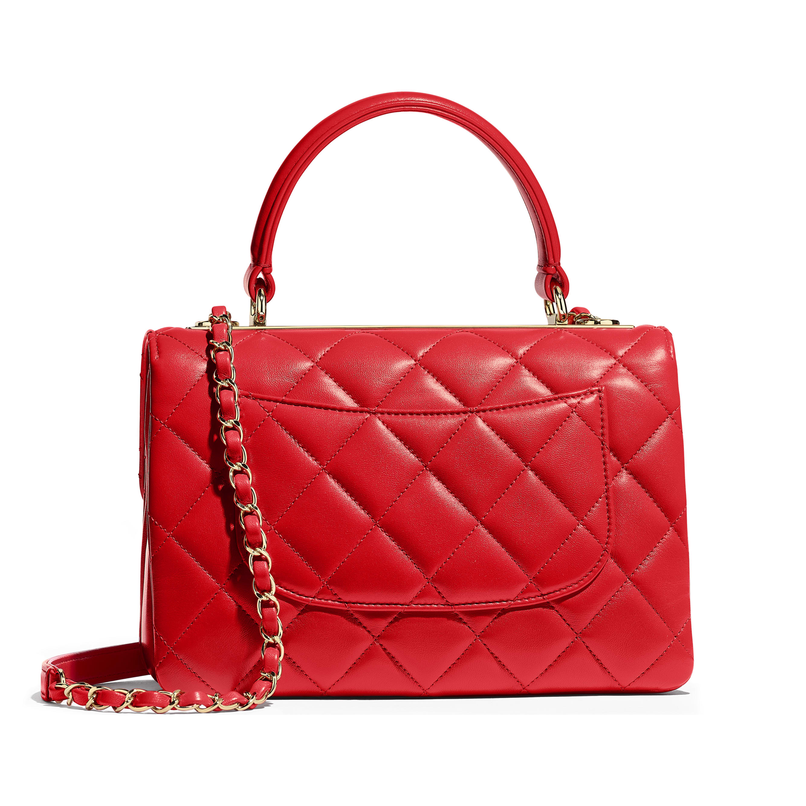 Small Flap Bag with Top Handle - Red - Lambskin & Gold-Tone Metal - Alternative view - see standard sized version