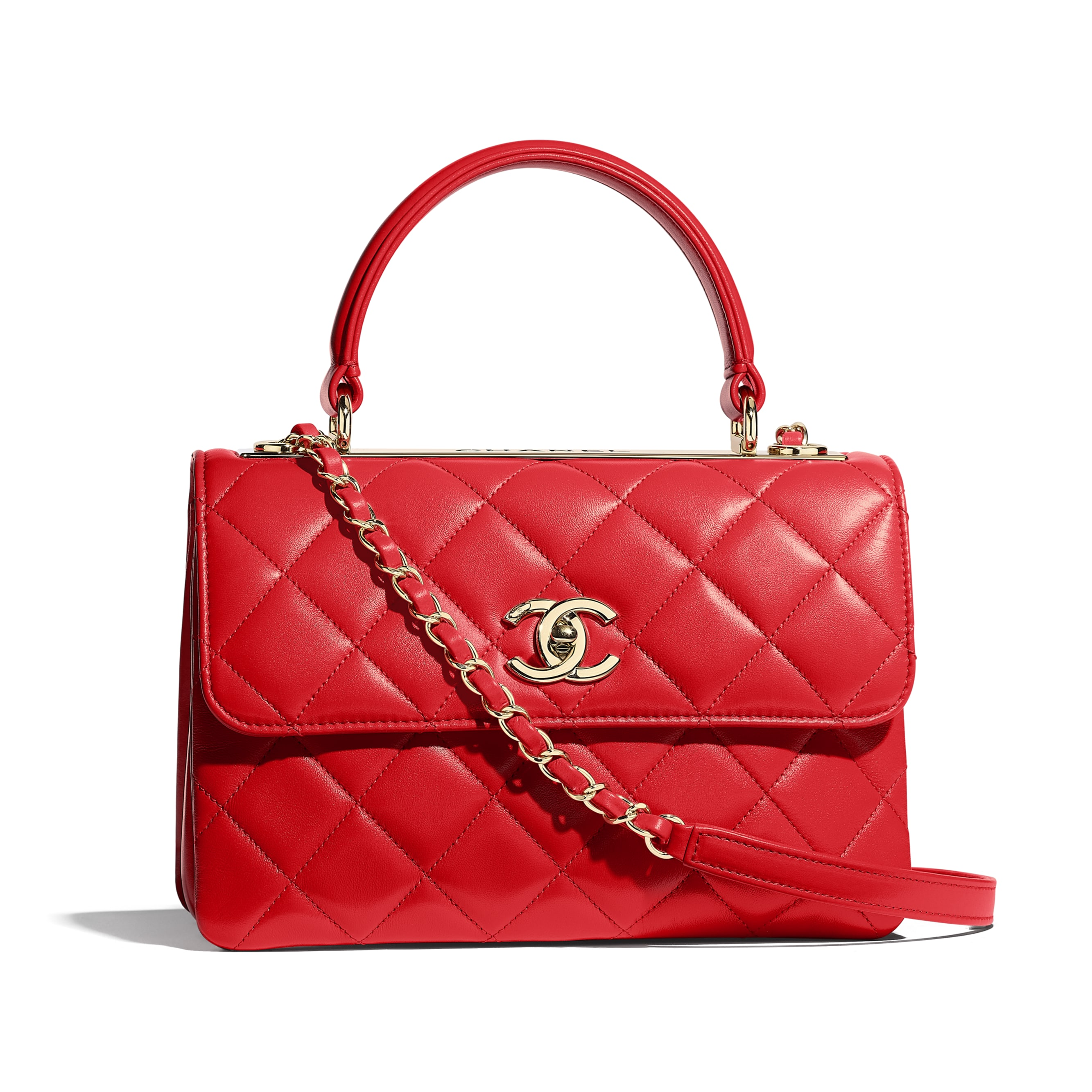 Small Flap Bag with Top Handle - Red - Lambskin & Gold-Tone Metal - Default view - see standard sized version