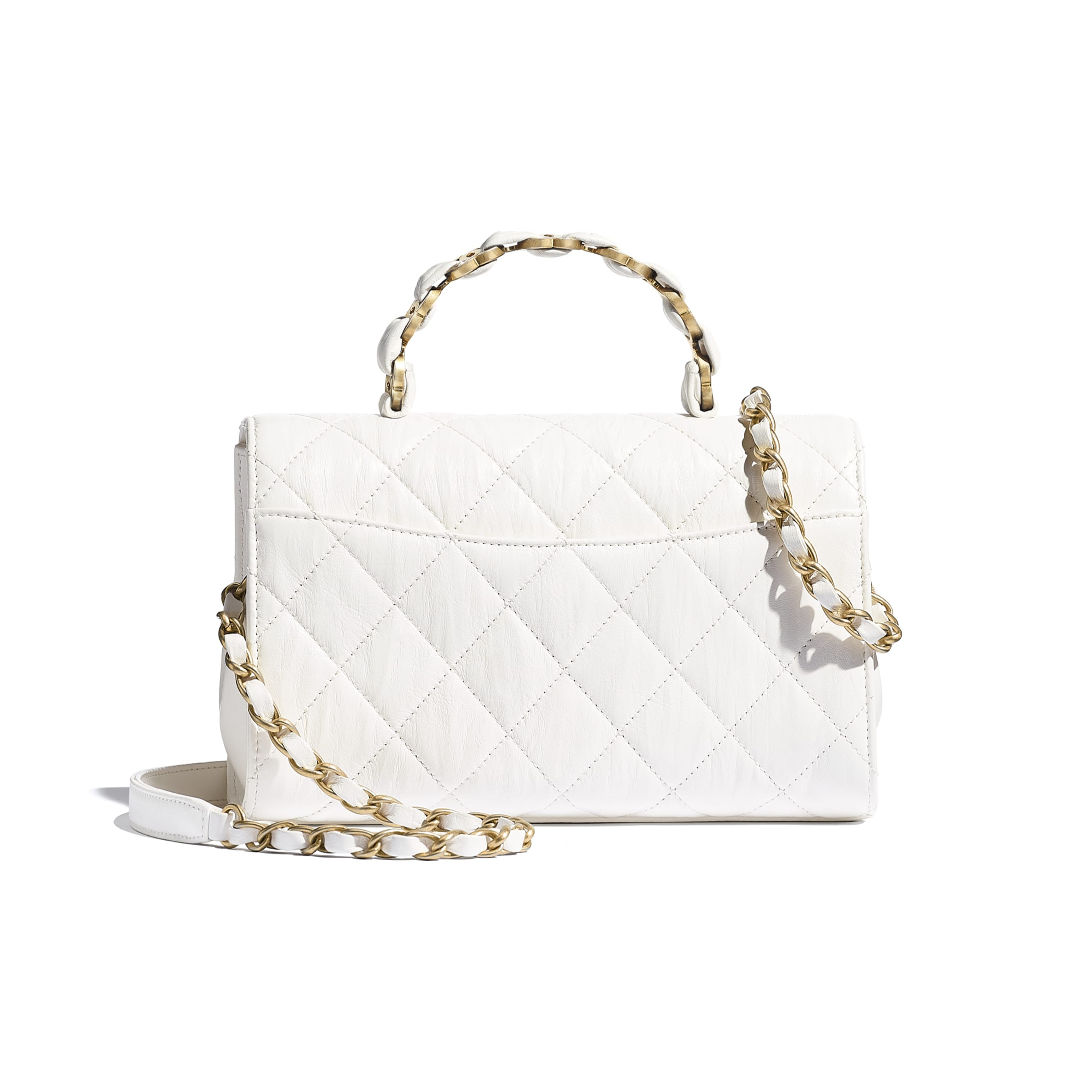 Small Flap Bag With Top Handle - White - Crumpled Lambskin & Gold-Tone Metal - CHANEL - Alternative view - see standard sized version