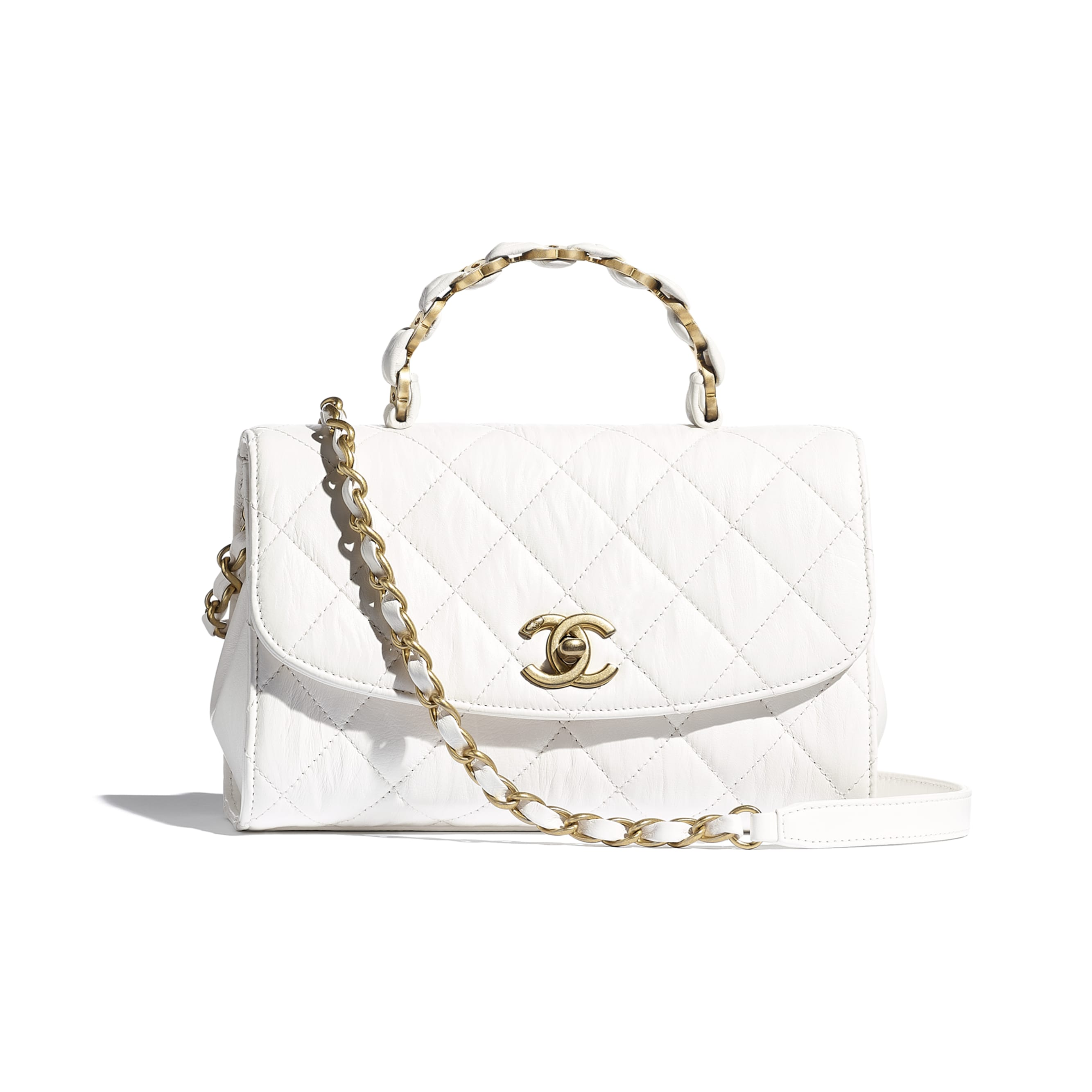 Small Flap Bag With Top Handle - White - Crumpled Lambskin & Gold-Tone Metal - CHANEL - Default view - see standard sized version
