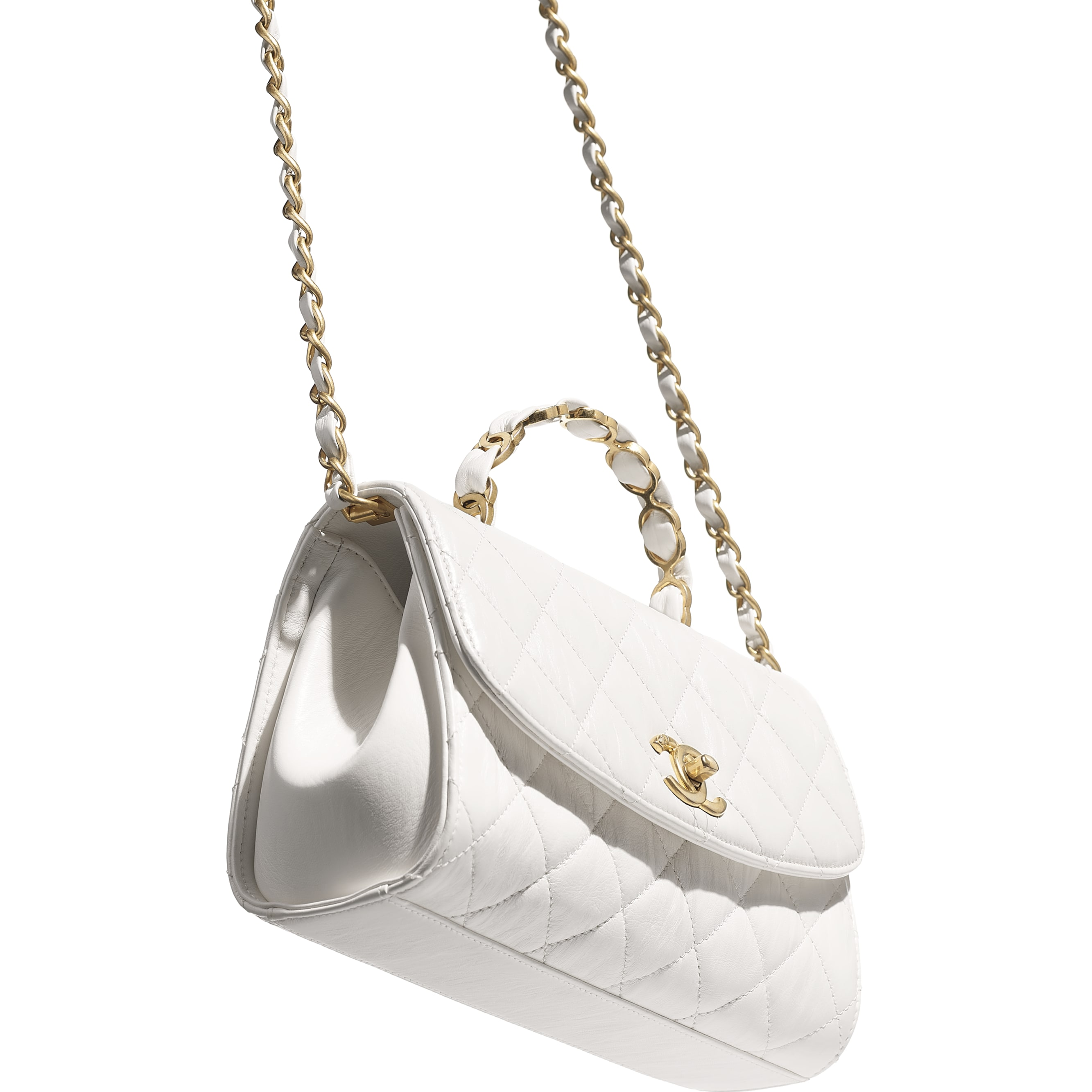 Small Flap Bag With Top Handle - White - Crumpled Lambskin & Gold-Tone Metal - CHANEL - Other view - see standard sized version