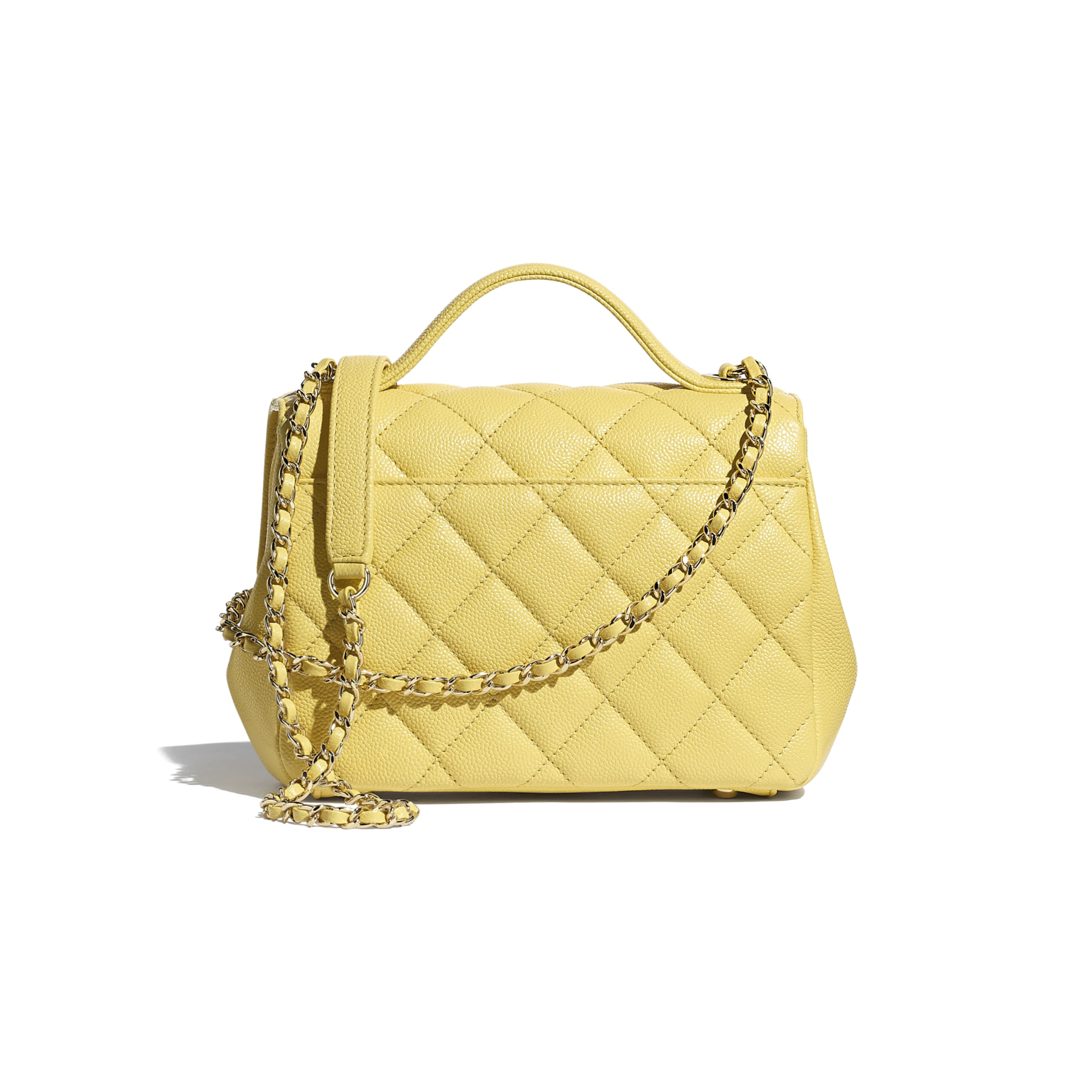 Small Flap Bag With Top Handle - Yellow - Grained Calfskin & Gold-Tone Metal - CHANEL - Alternative view - see standard sized version