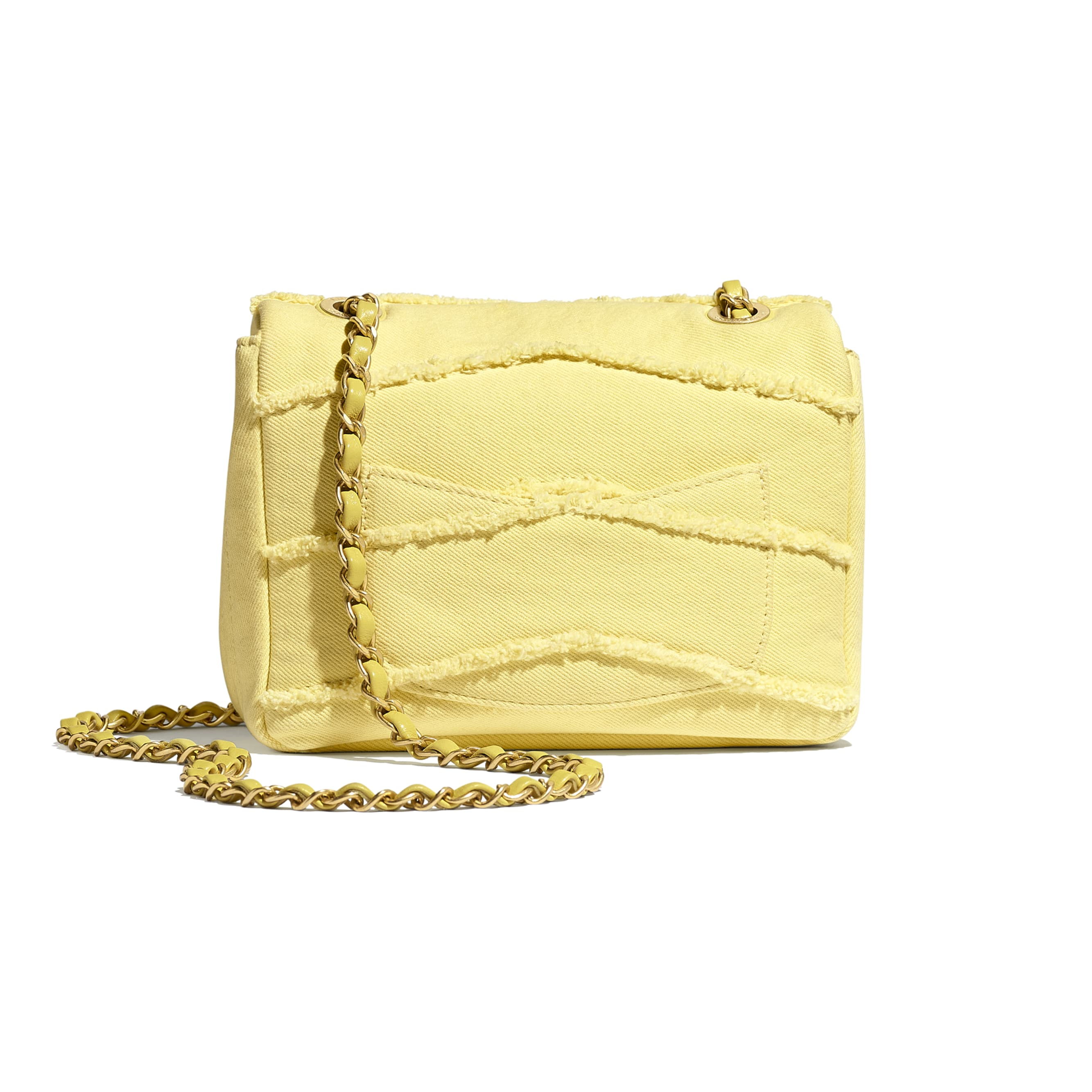 Small Flap Bag - Yellow - Denim & Gold-Tone Metal - CHANEL - Alternative view - see standard sized version