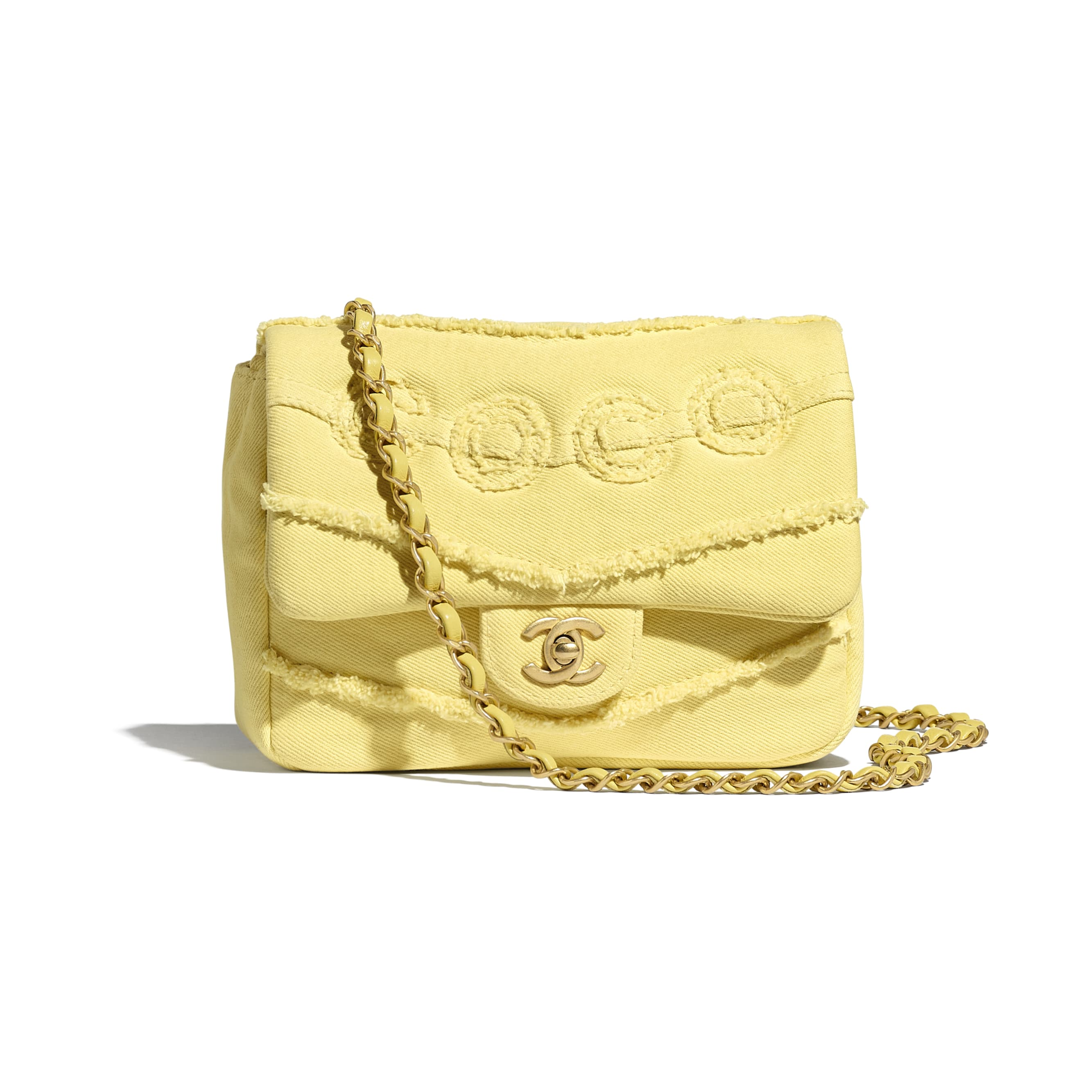 Small Flap Bag - Yellow - Denim & Gold-Tone Metal - CHANEL - Default view - see standard sized version