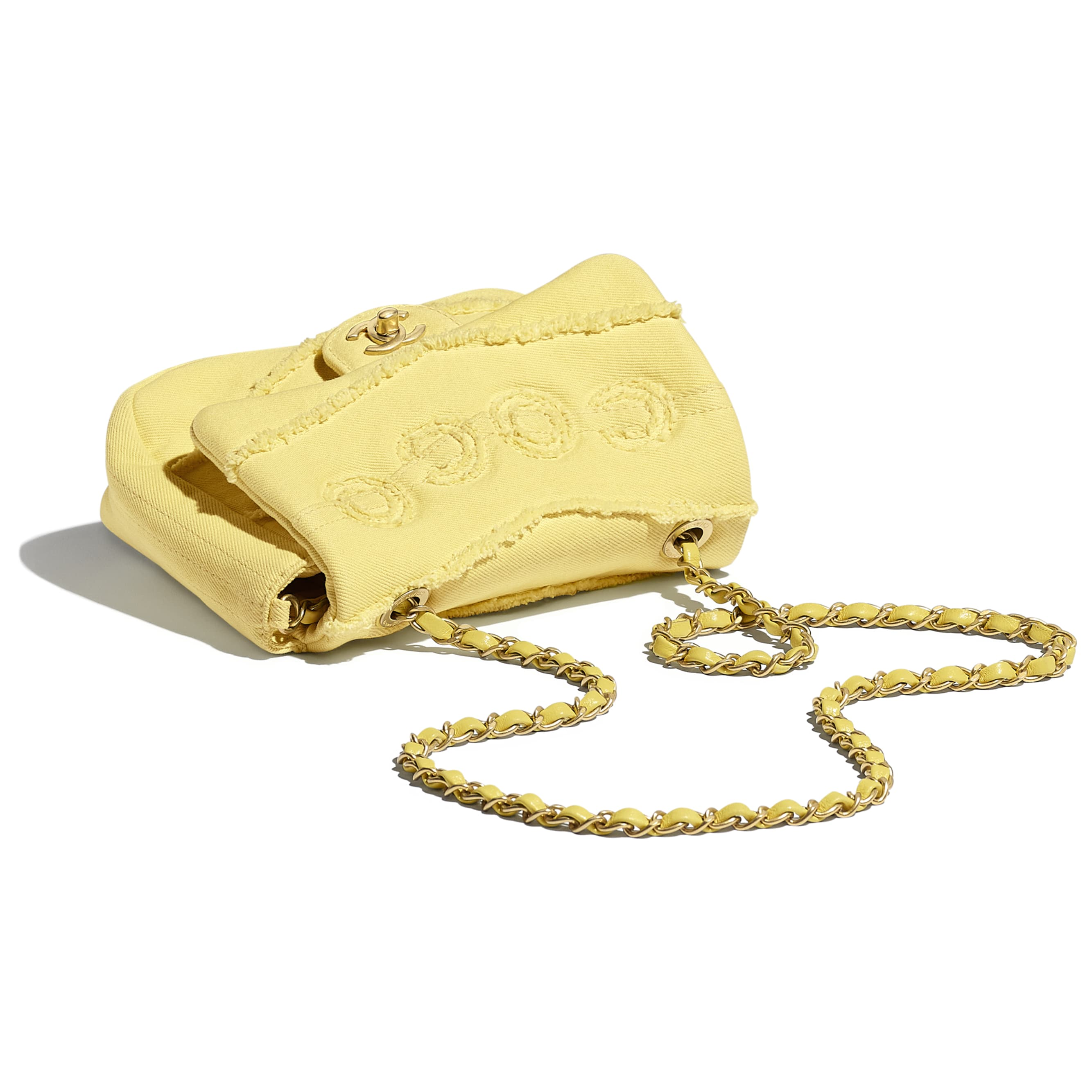 Small Flap Bag - Yellow - Denim & Gold-Tone Metal - CHANEL - Extra view - see standard sized version