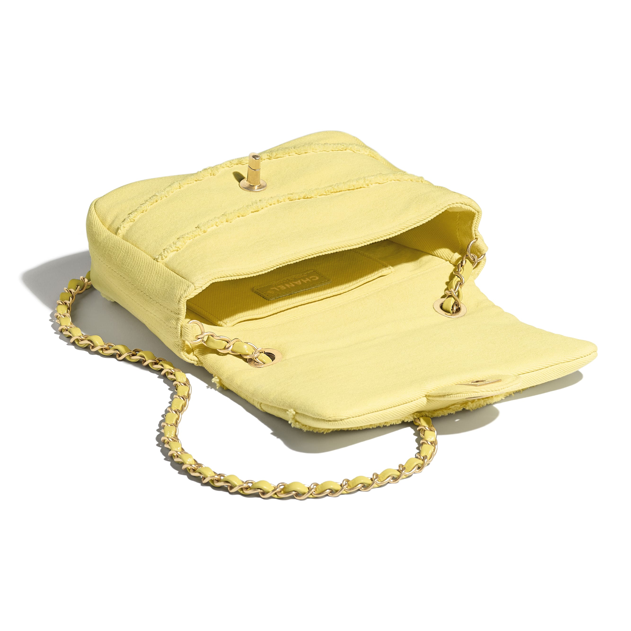 Small Flap Bag - Yellow - Denim & Gold-Tone Metal - CHANEL - Other view - see standard sized version