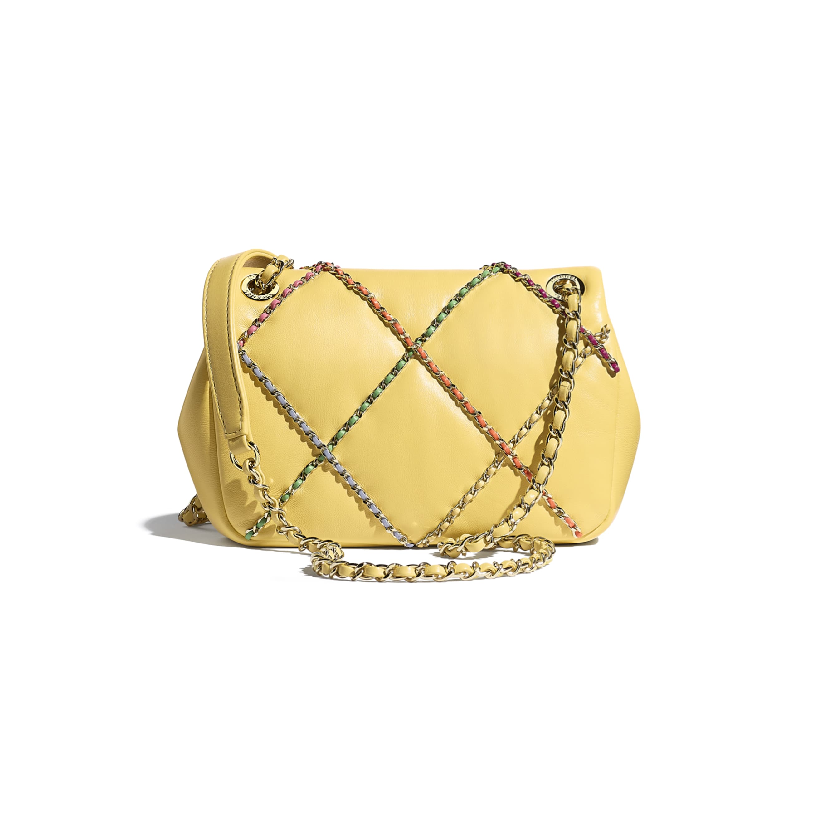 Small Flap Bag - Yellow & Multicolour - Lambskin & Gold Metal  - CHANEL - Alternative view - see standard sized version