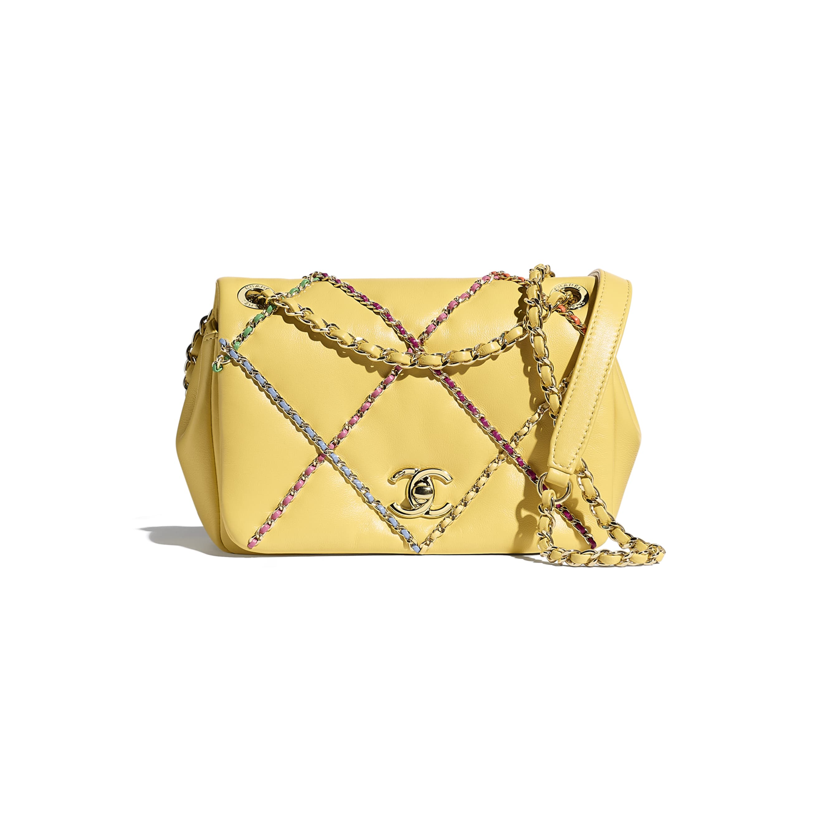 Small Flap Bag - Yellow & Multicolour - Lambskin & Gold Metal  - CHANEL - Default view - see standard sized version