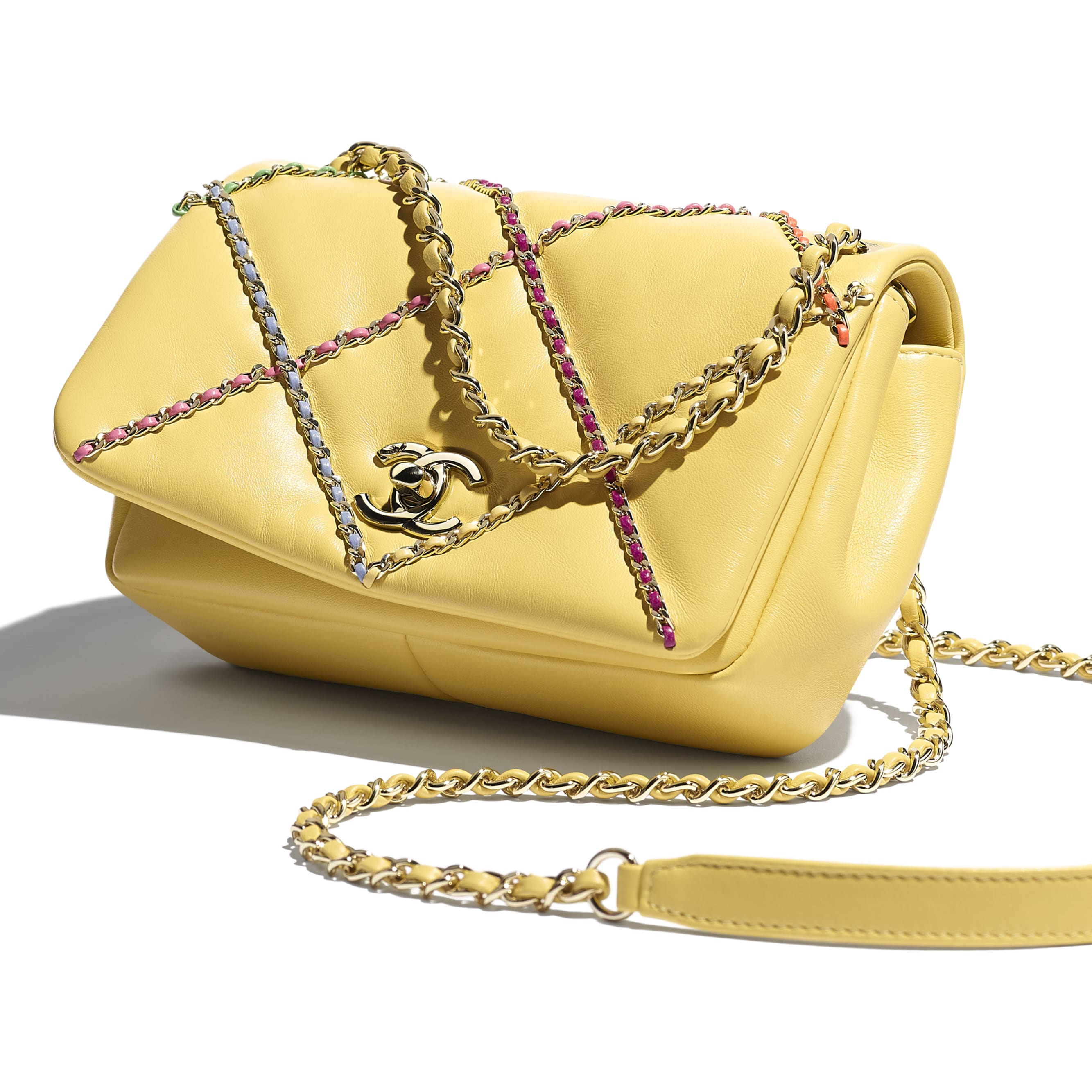 Small Flap Bag - Yellow & Multicolour - Lambskin & Gold Metal  - CHANEL - Extra view - see standard sized version