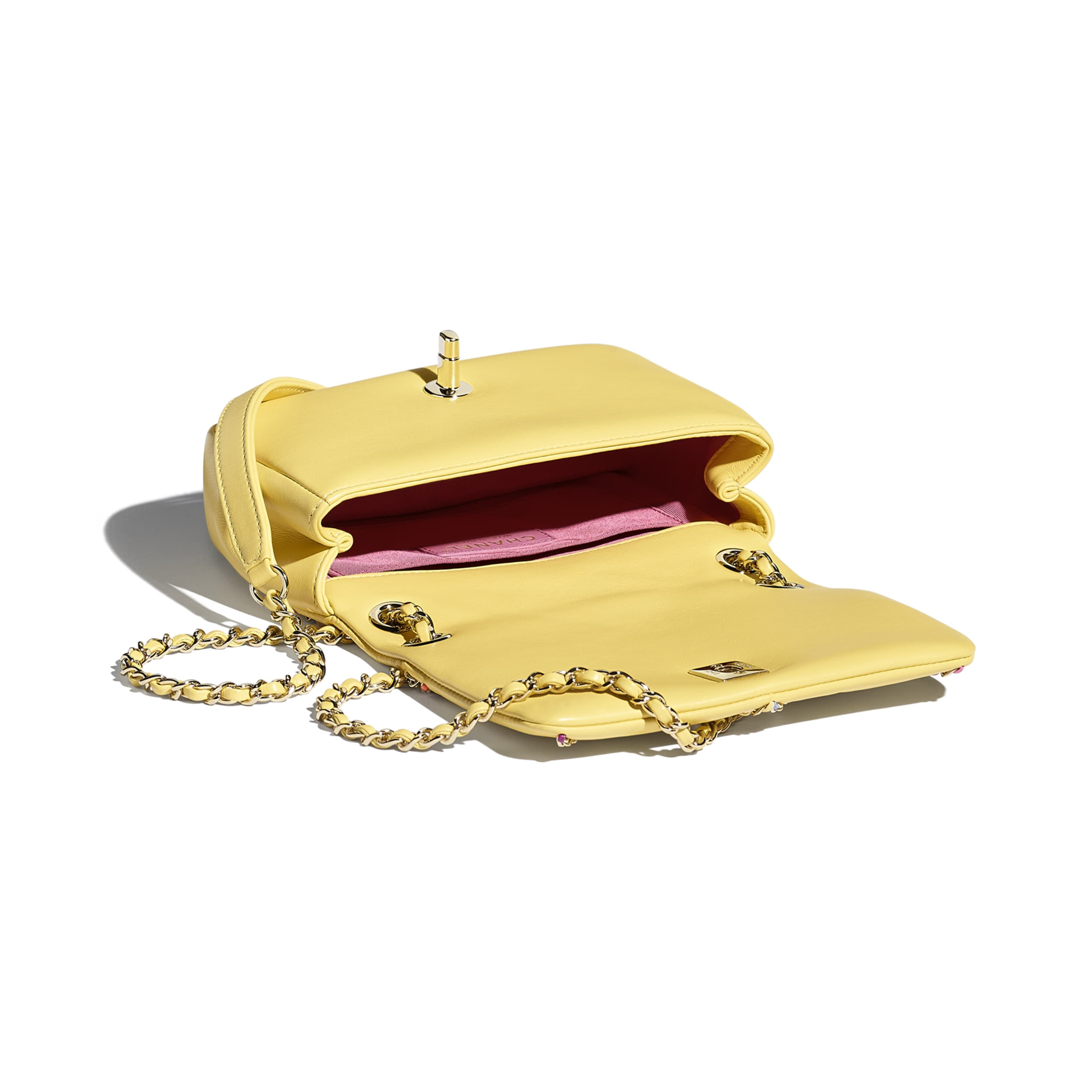 Small Flap Bag - Yellow & Multicolour - Lambskin & Gold Metal  - CHANEL - Other view - see standard sized version