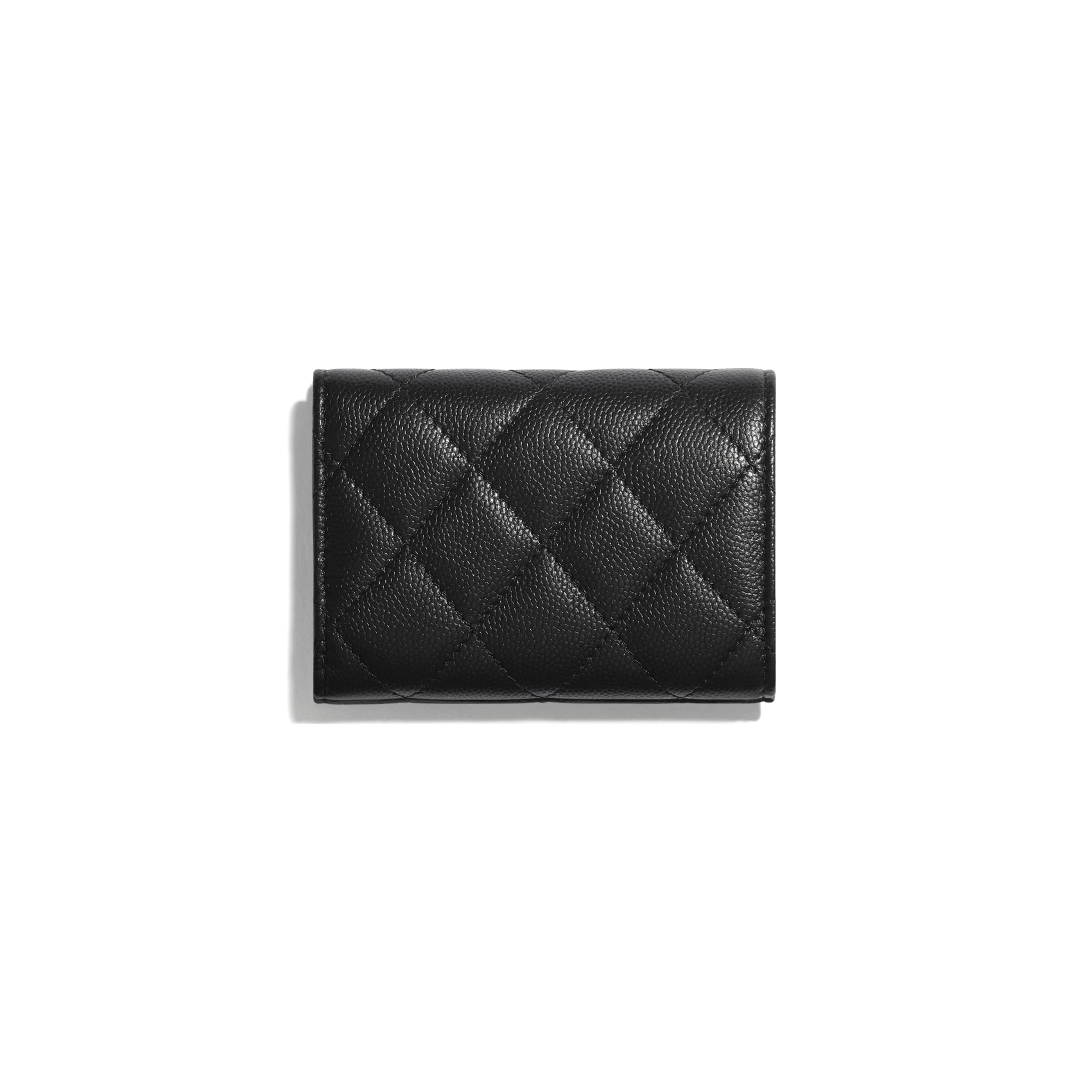 Small Flap Wallet - Black - Grained Calfskin & Lacquered Metal - CHANEL - Alternative view - see standard sized version