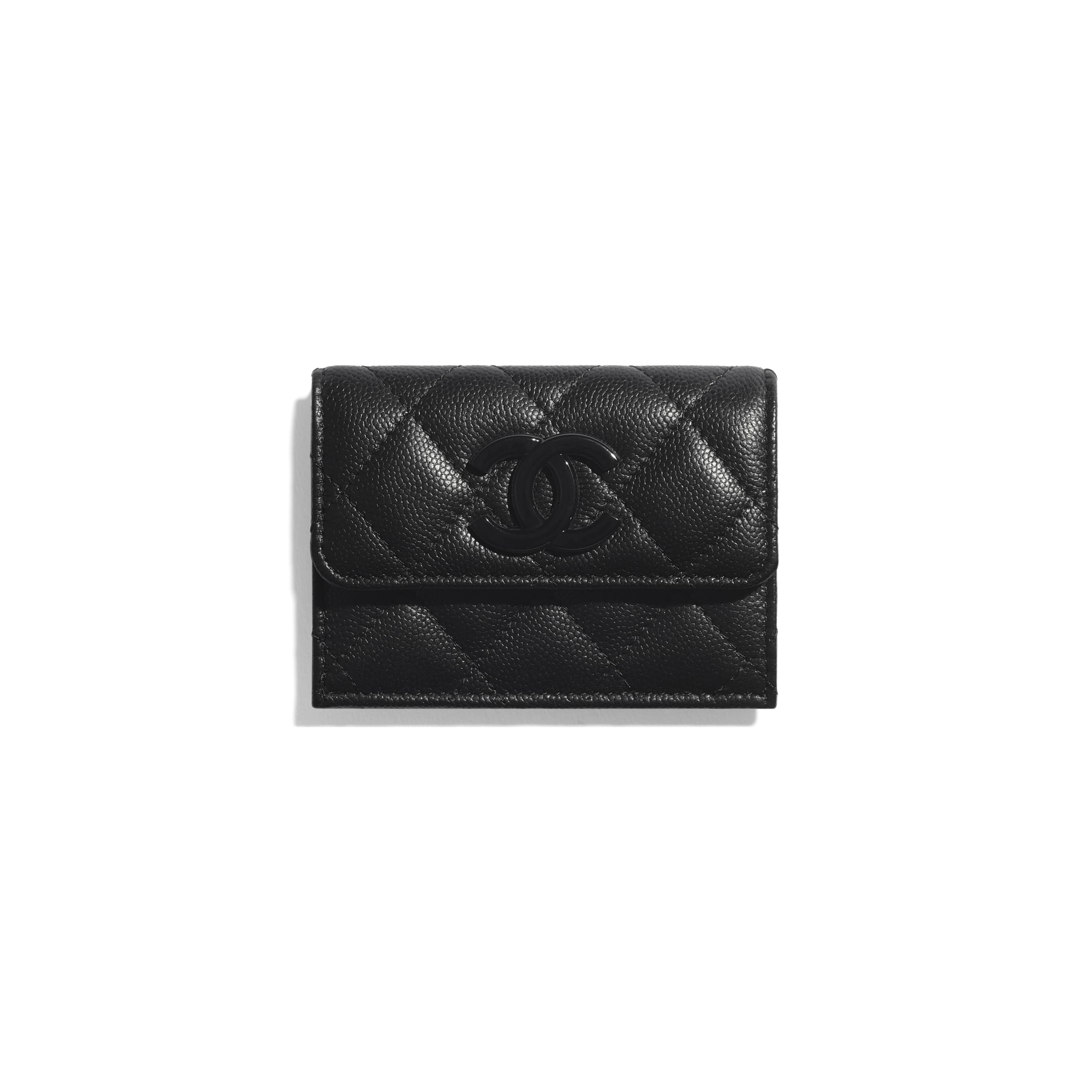 Small Flap Wallet - Black - Grained Calfskin & Lacquered Metal - CHANEL - Default view - see standard sized version