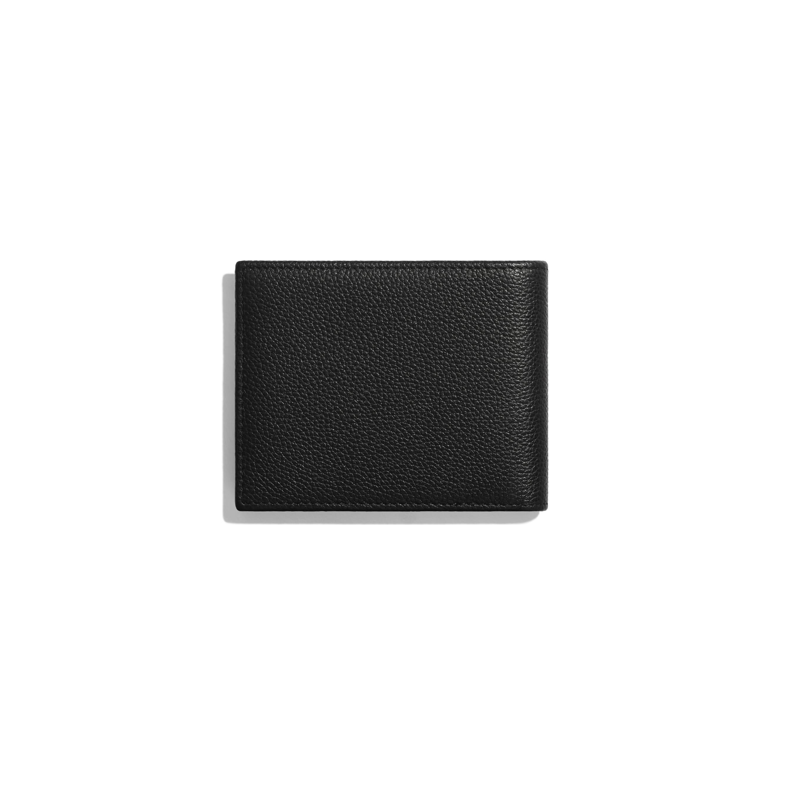 Small Flap Wallet - Black - Grained Calfskin & Ruthenium-Finish Metal - Alternative view - see standard sized version
