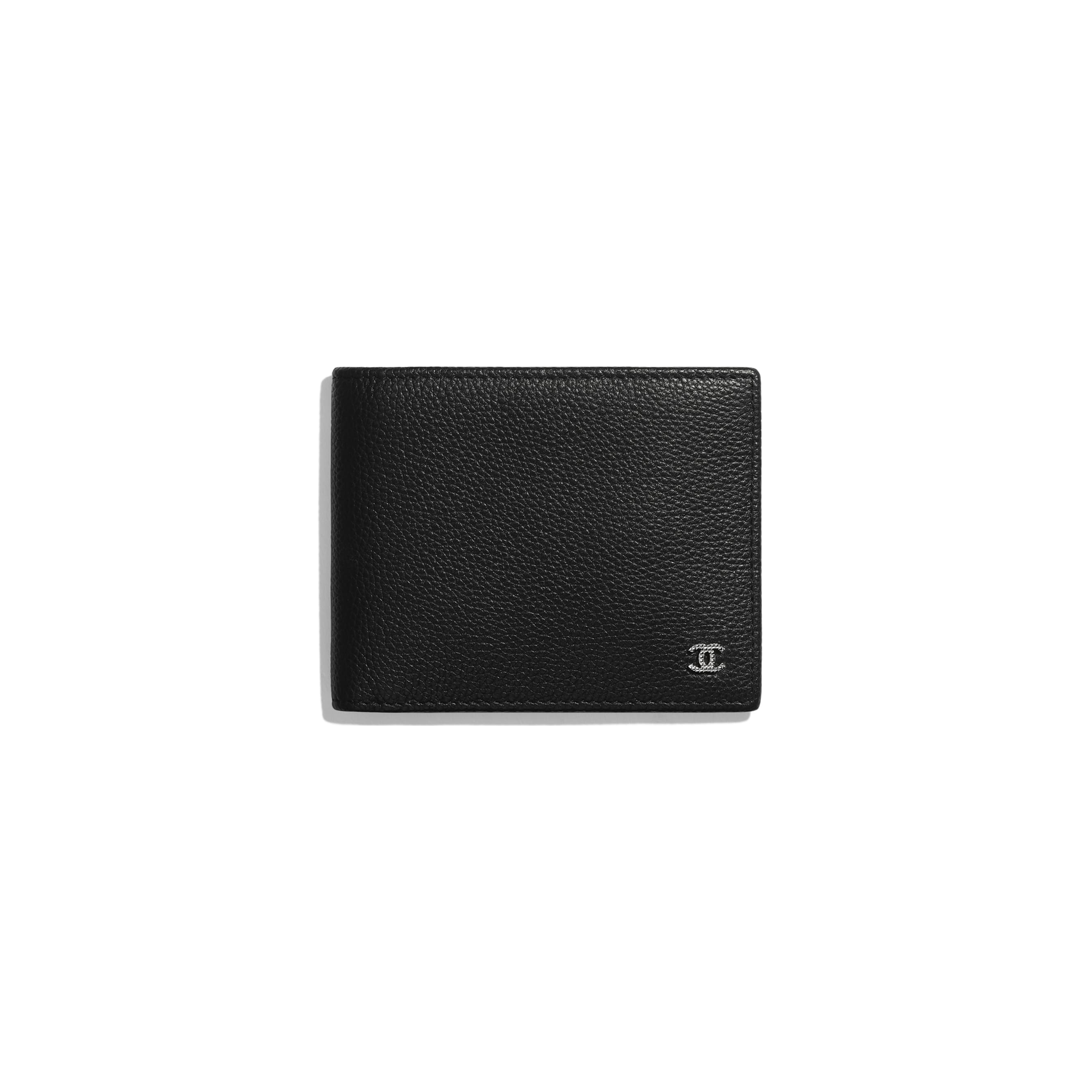 Small Flap Wallet - Black - Grained Calfskin & Ruthenium-Finish Metal - Default view - see standard sized version