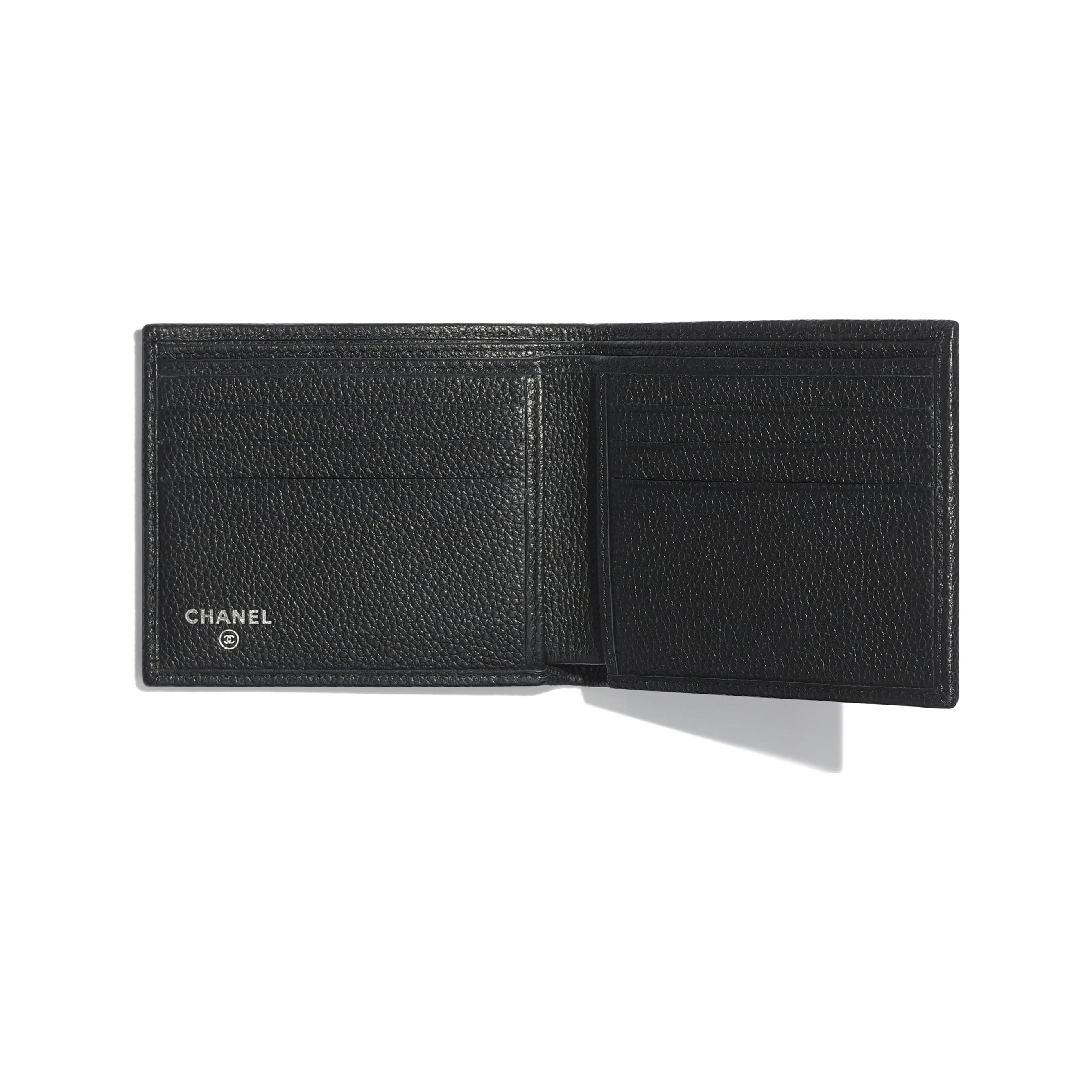 Small Flap Wallet - Black - Grained Calfskin & Ruthenium-Finish Metal - Other view - see standard sized version