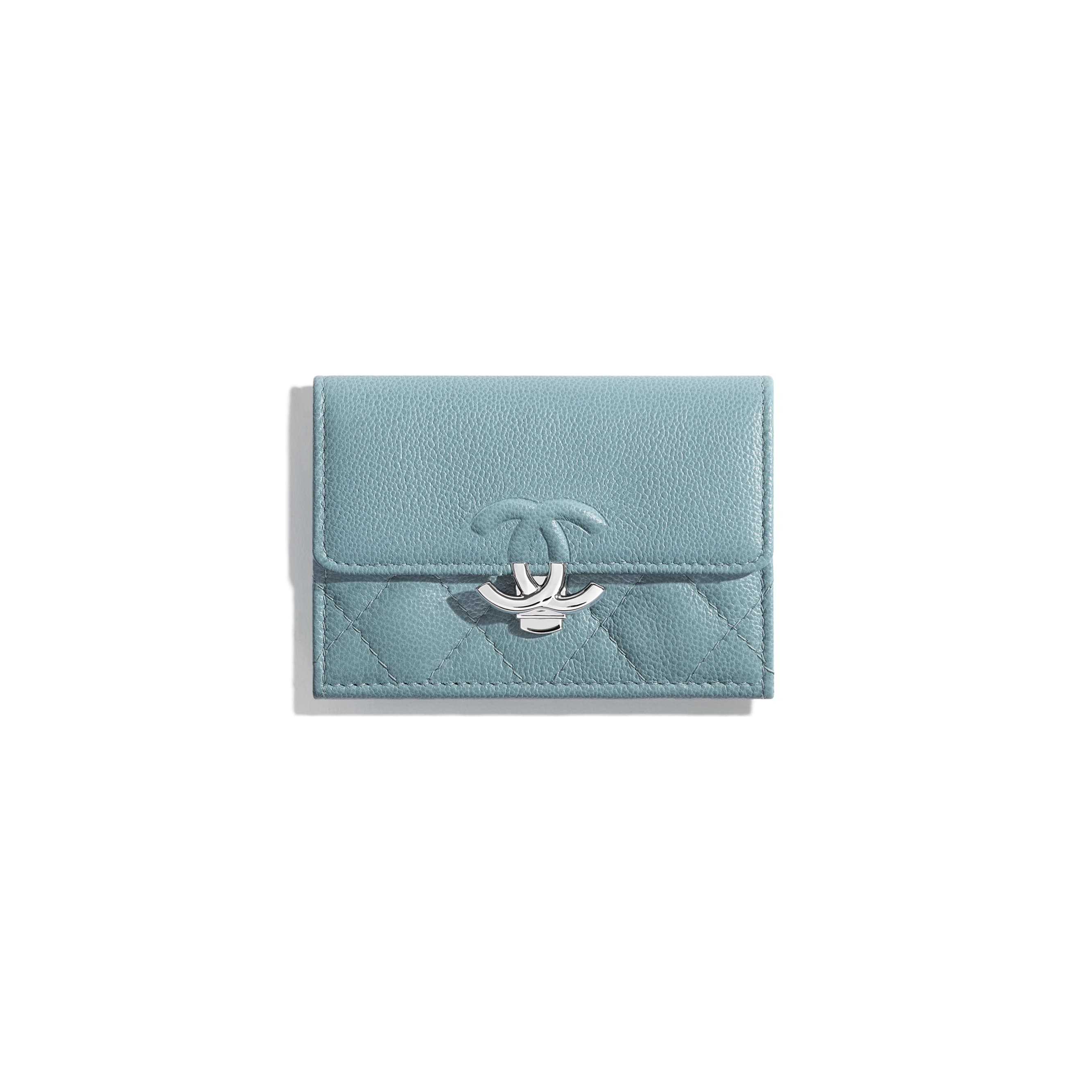 Small Flap Wallet - Blue - Grained Calfskin & Silver Metal - Default view - see standard sized version