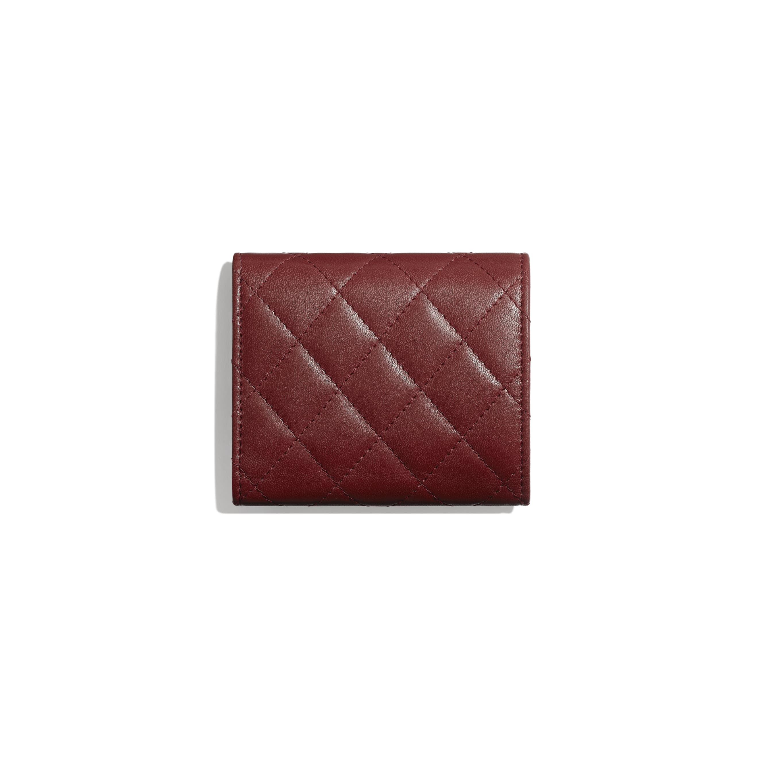 Small Flap Wallet - Burgundy - Lambskin - Alternative view - see standard sized version