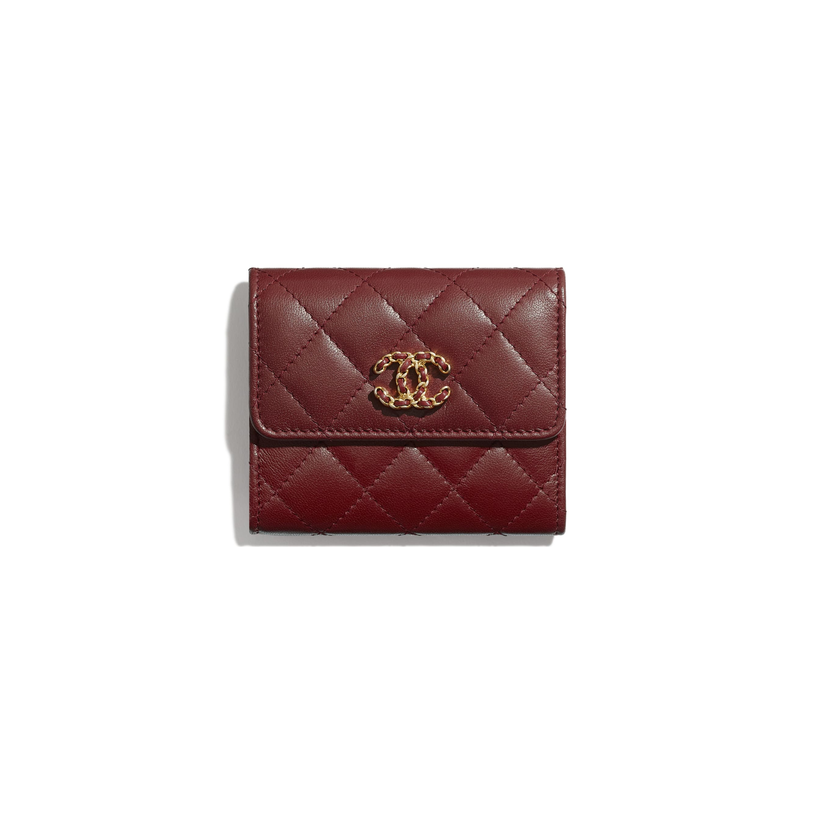 Small Flap Wallet - Burgundy - Lambskin - Default view - see standard sized version