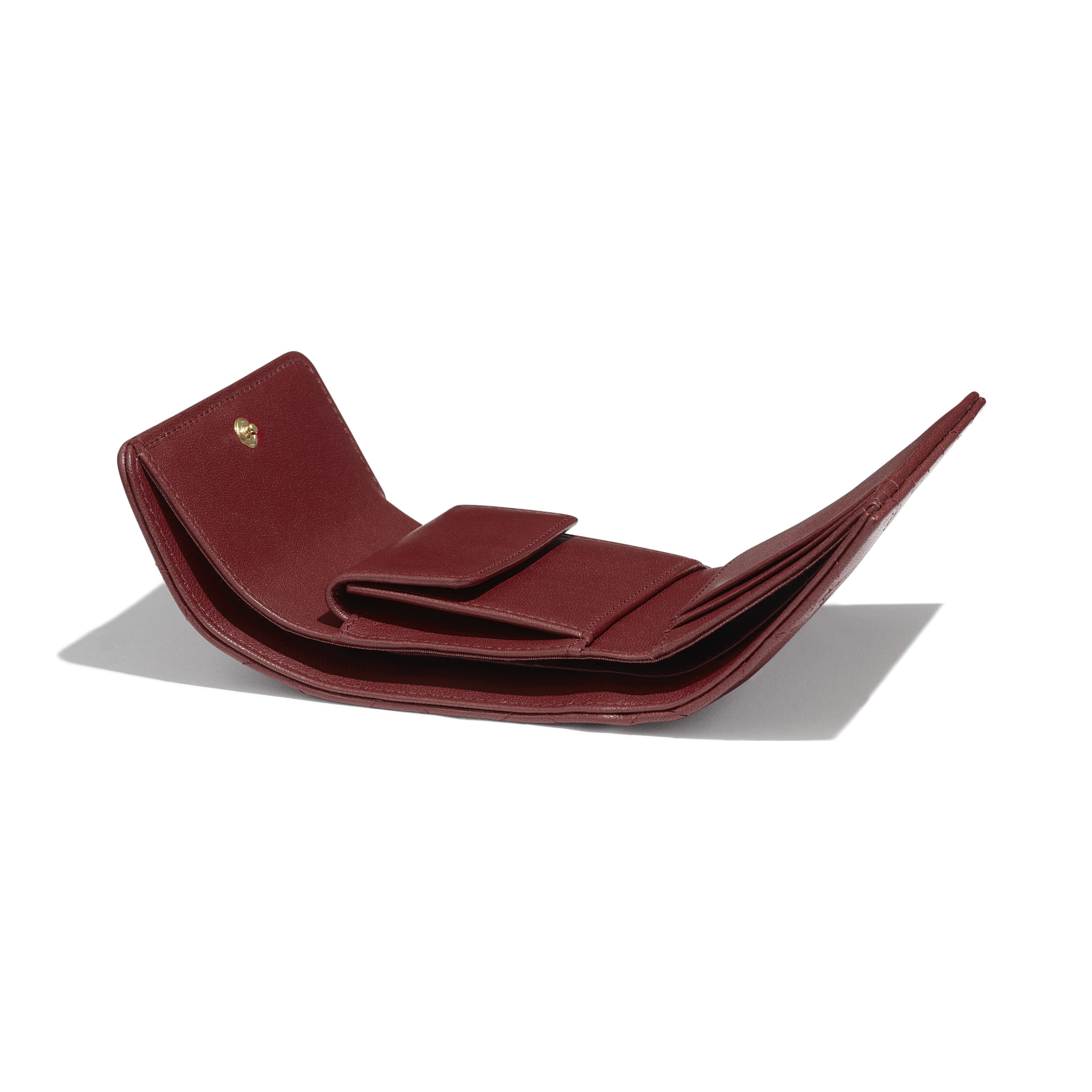 Small Flap Wallet - Burgundy - Lambskin - Extra view - see standard sized version