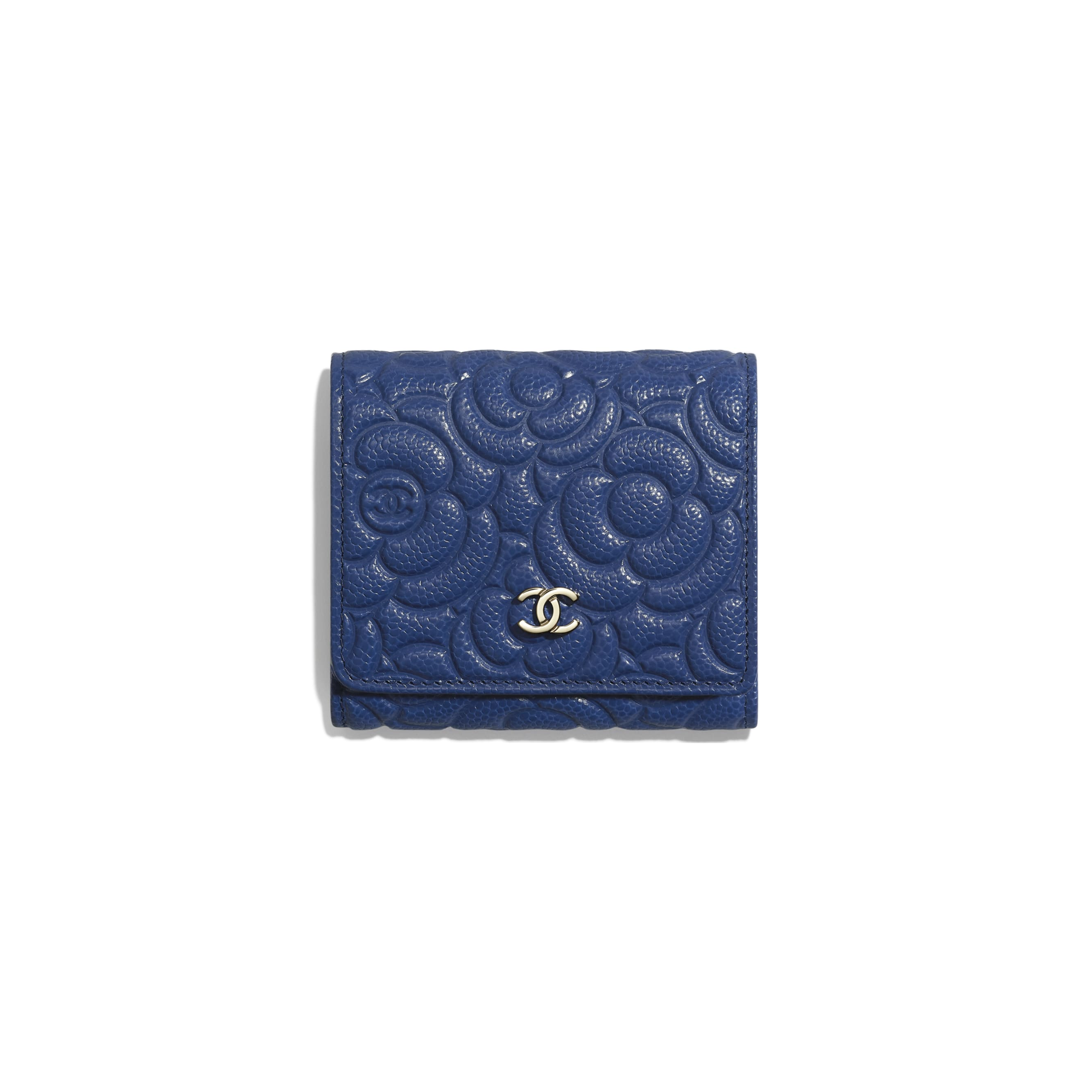 Small Flap Wallet - Dark Blue - Grained Shiny Calfskin & Gold-Tone Metal - CHANEL - Default view - see standard sized version