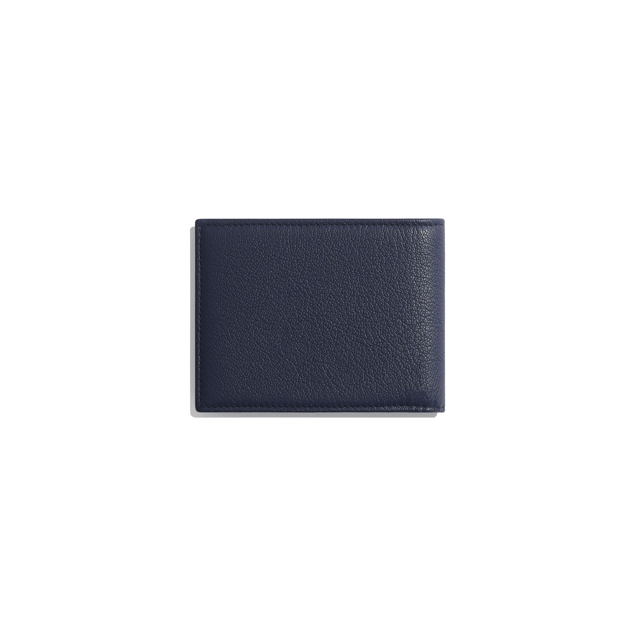 Small Flap Wallet - Navy Blue - Goatskin & Lacquered Silver-Tone Metal - Alternative view - see standard sized version