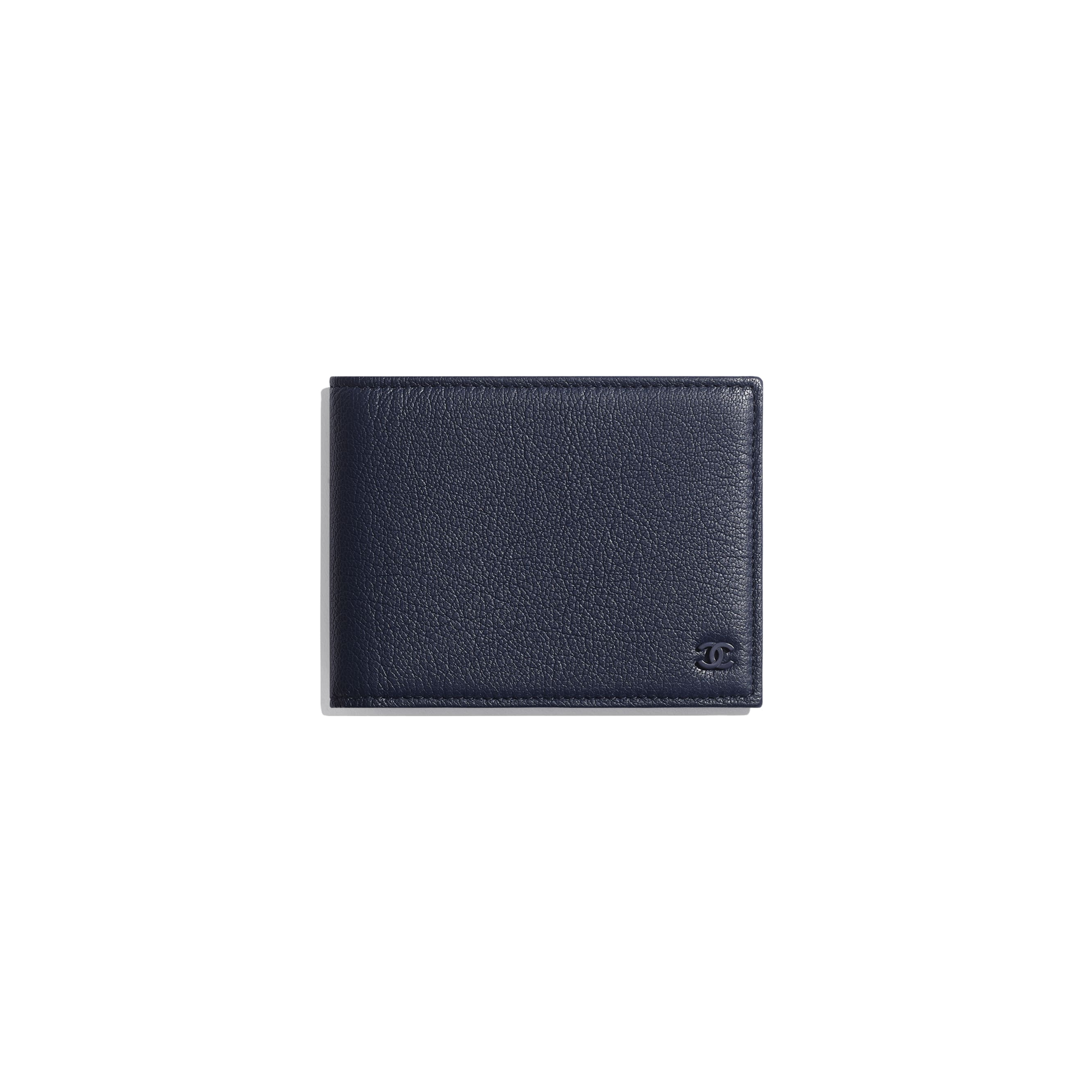 Small Flap Wallet - Navy Blue - Goatskin & Lacquered Silver-Tone Metal - Default view - see standard sized version