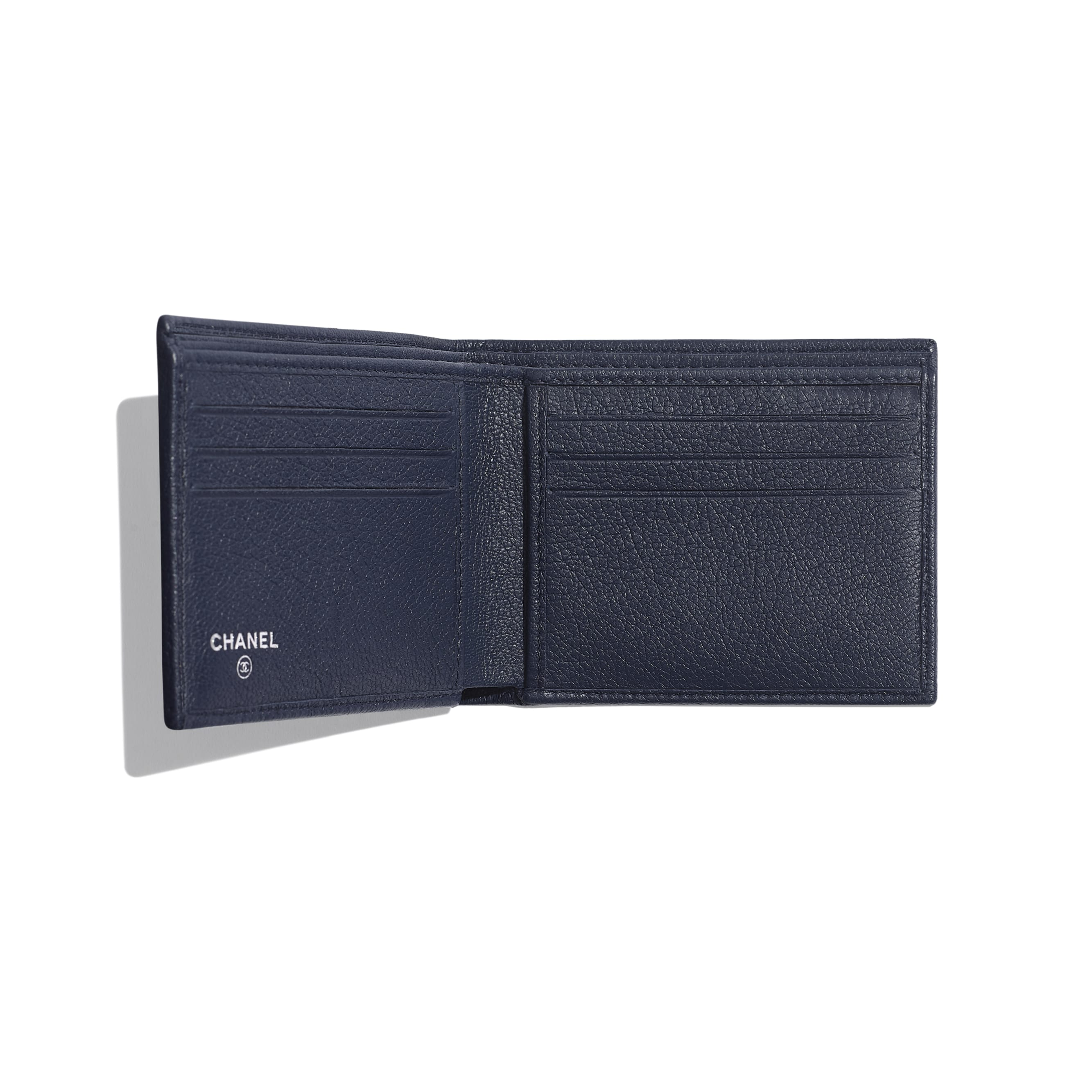 Small Flap Wallet - Navy Blue - Goatskin & Lacquered Silver-Tone Metal - Other view - see standard sized version