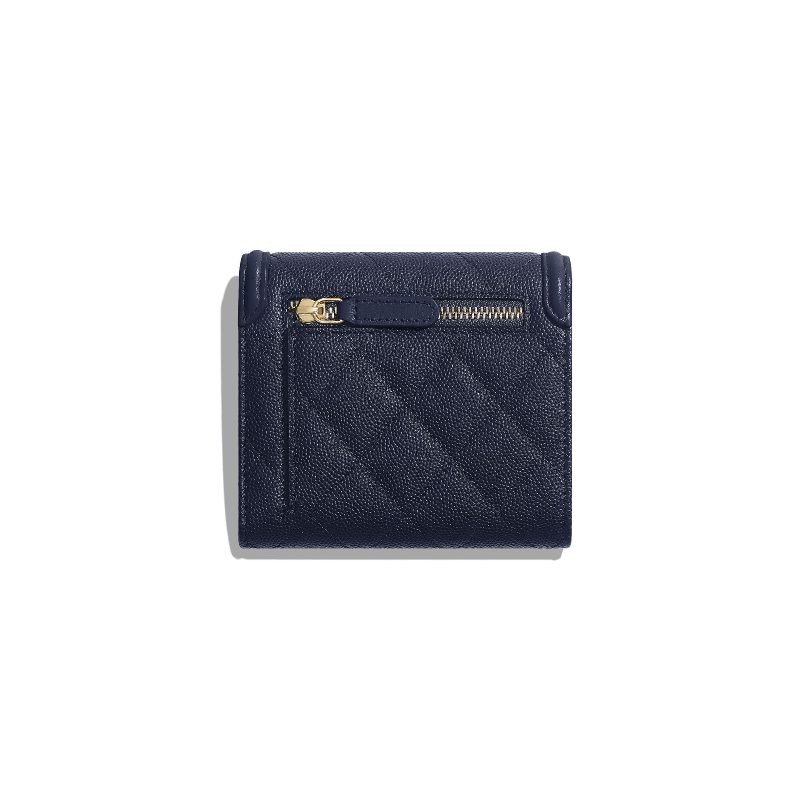 Small Flap Wallet - Navy Blue - Grained Calfskin & Gold-Tone Metal - Alternative view - see standard sized version