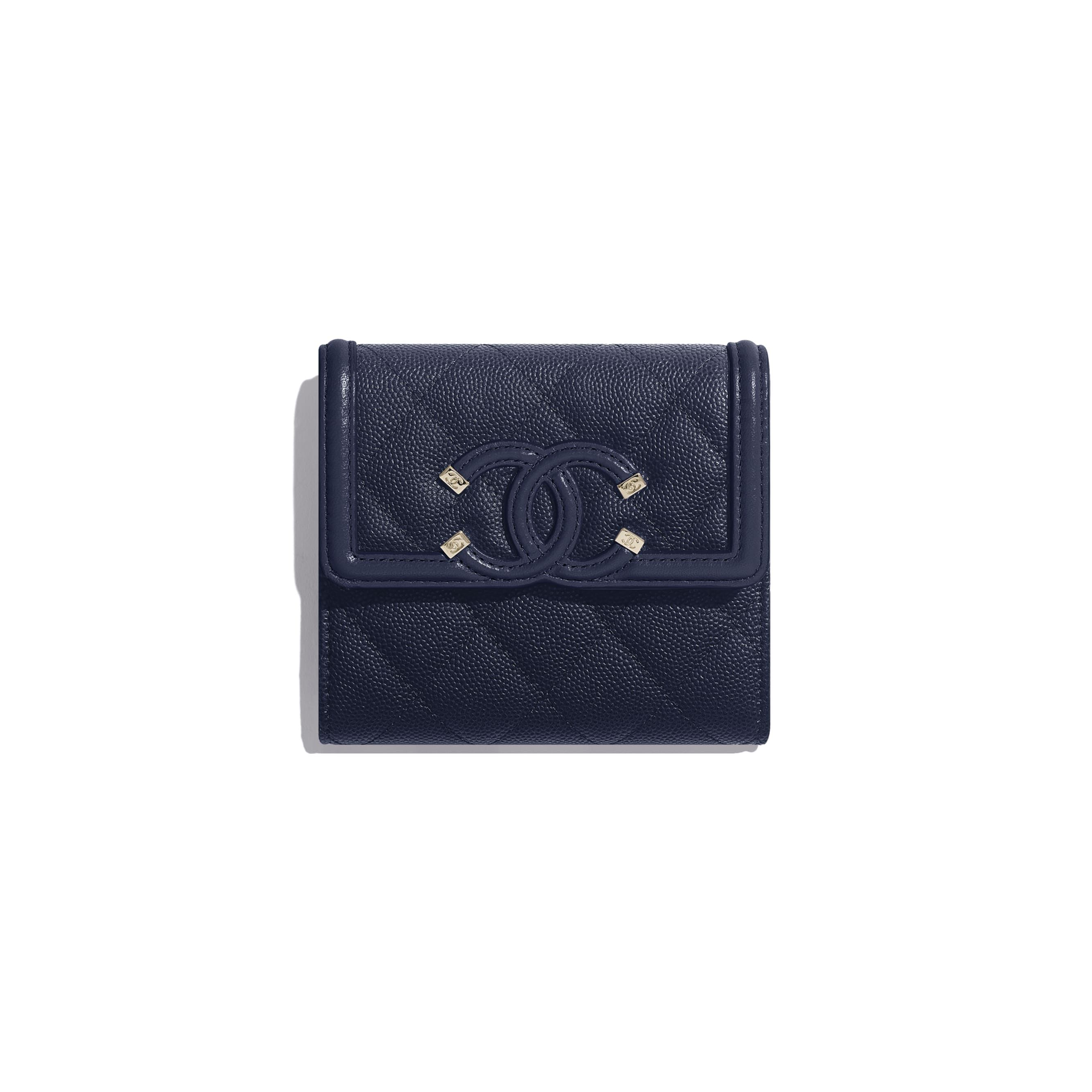 Small Flap Wallet - Navy Blue - Grained Calfskin & Gold-Tone Metal - Default view - see standard sized version