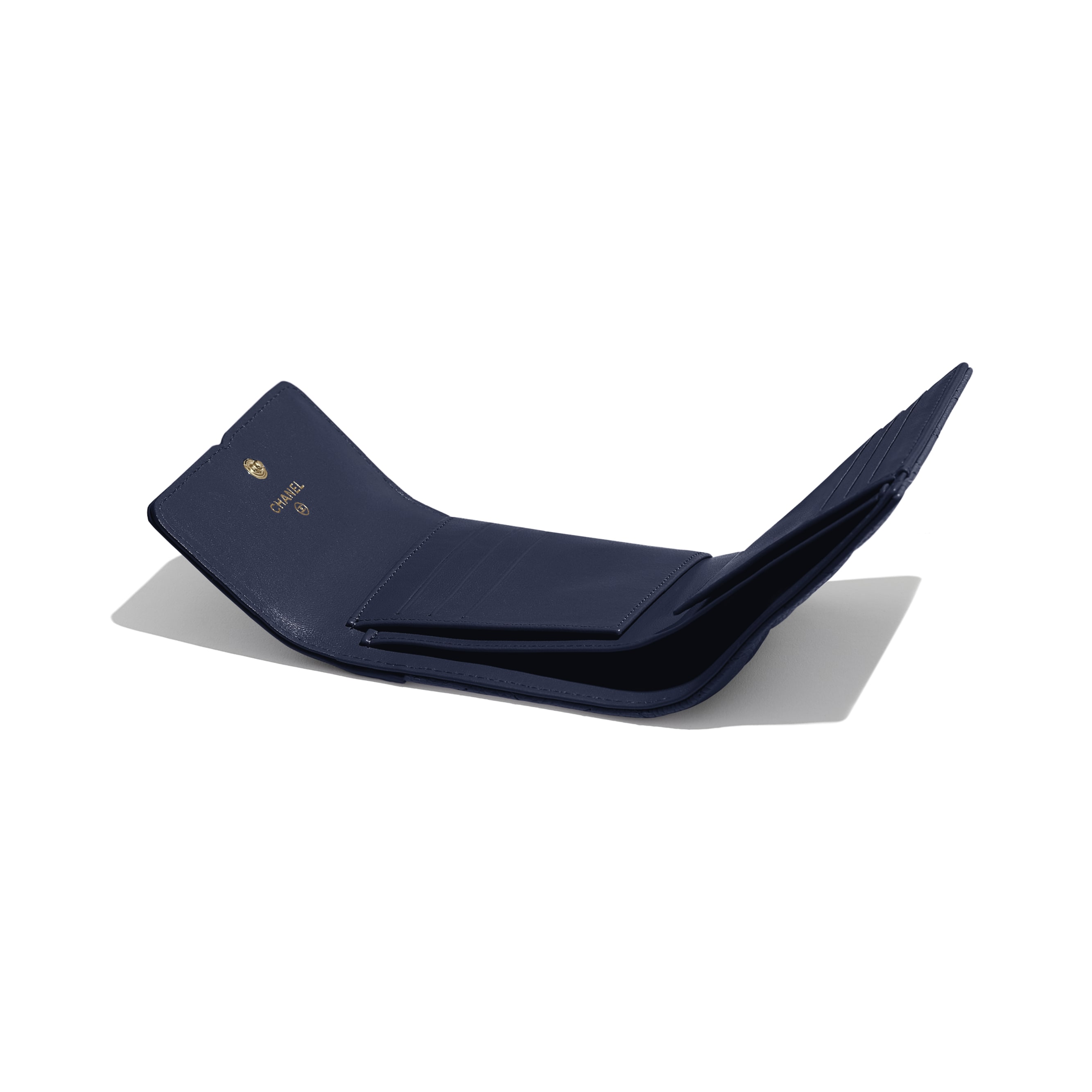 Small Flap Wallet - Navy Blue - Grained Calfskin & Gold-Tone Metal - Extra view - see standard sized version