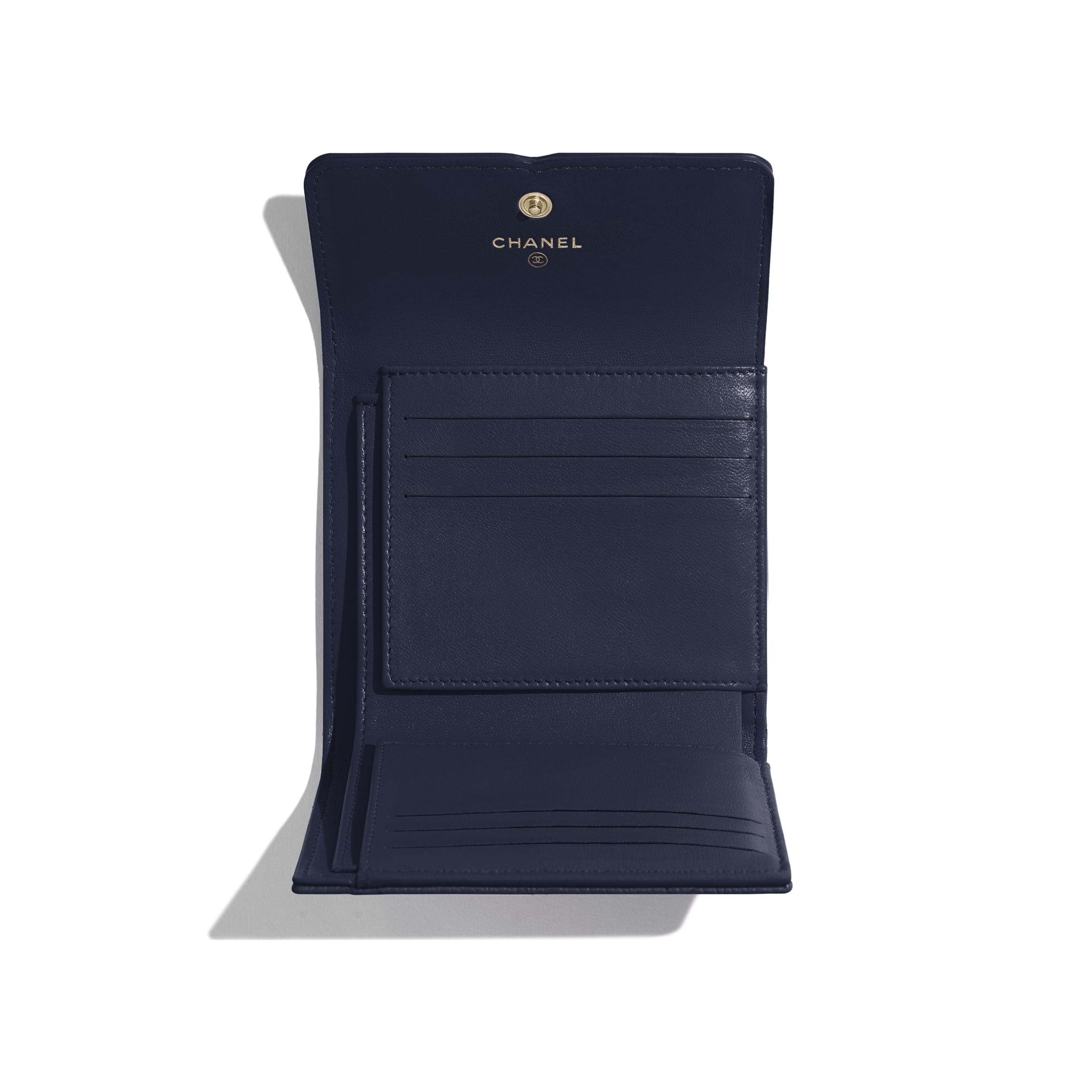 Small Flap Wallet - Navy Blue - Grained Calfskin & Gold-Tone Metal - Other view - see standard sized version