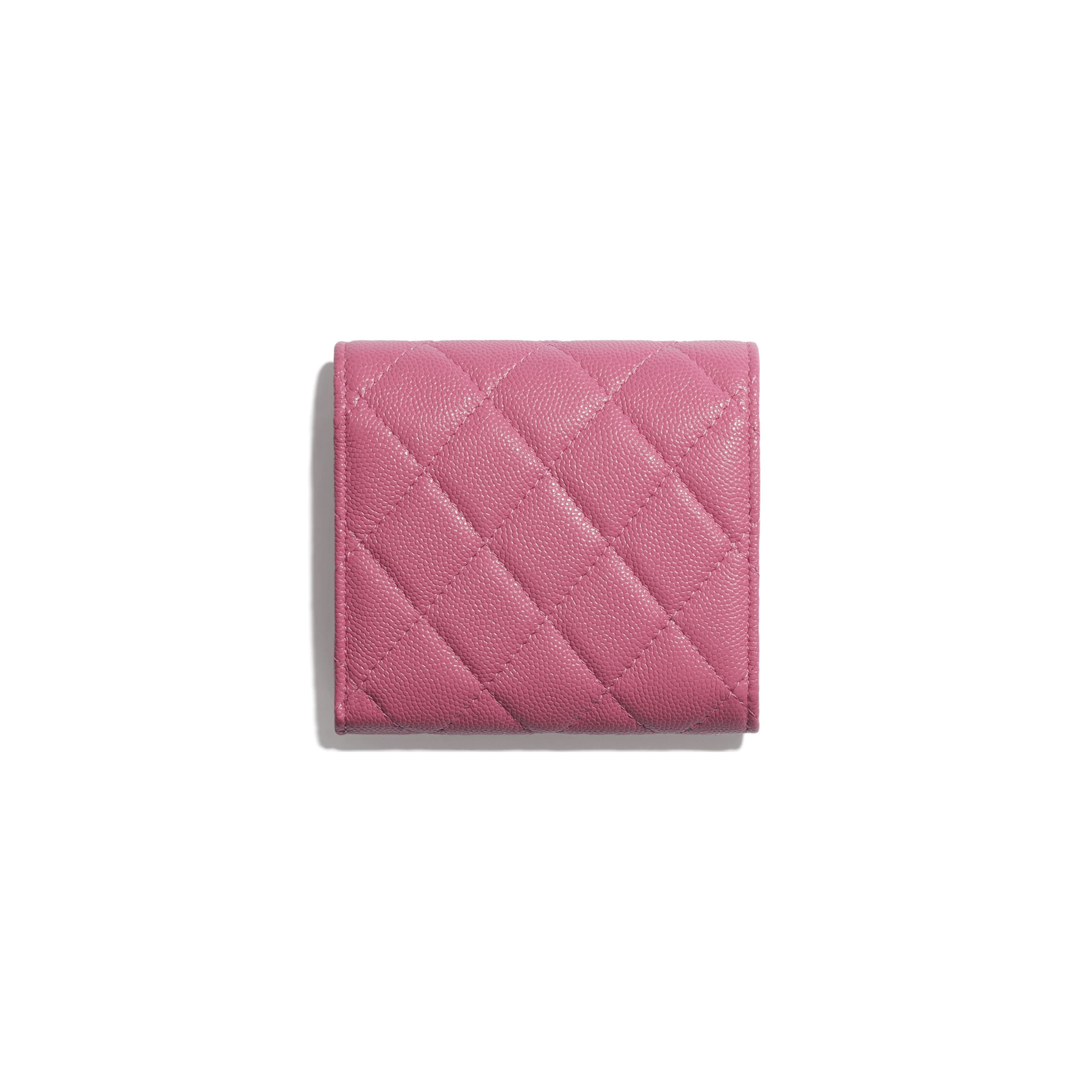 Small Flap Wallet - Pink, Blue & White - Grained Calfskin, Fabric & Silver-Tone Metal - CHANEL - Alternative view - see standard sized version