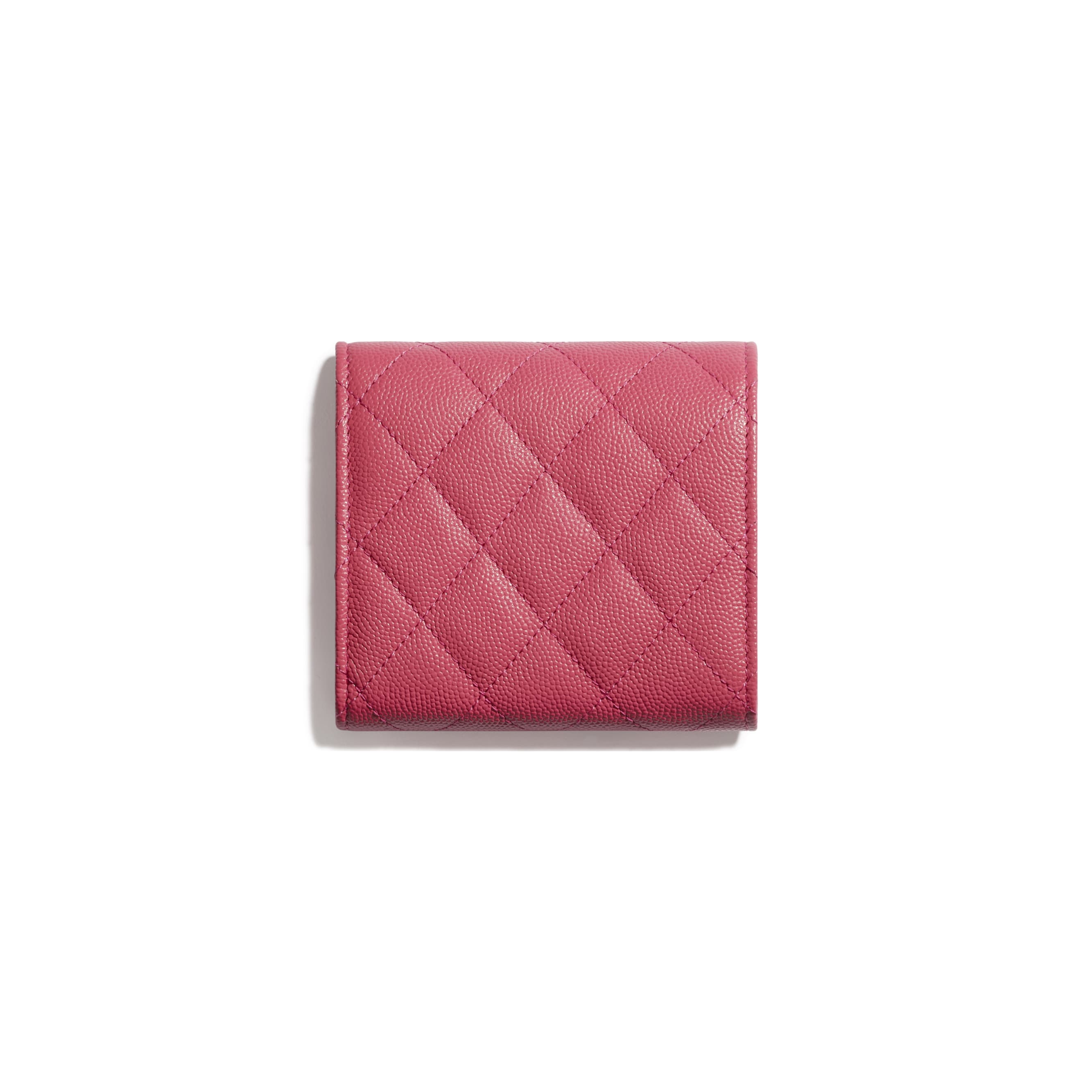 Small Flap Wallet - Pink - Grained Calfskin & Gold-Tone Metal - CHANEL - Alternative view - see standard sized version