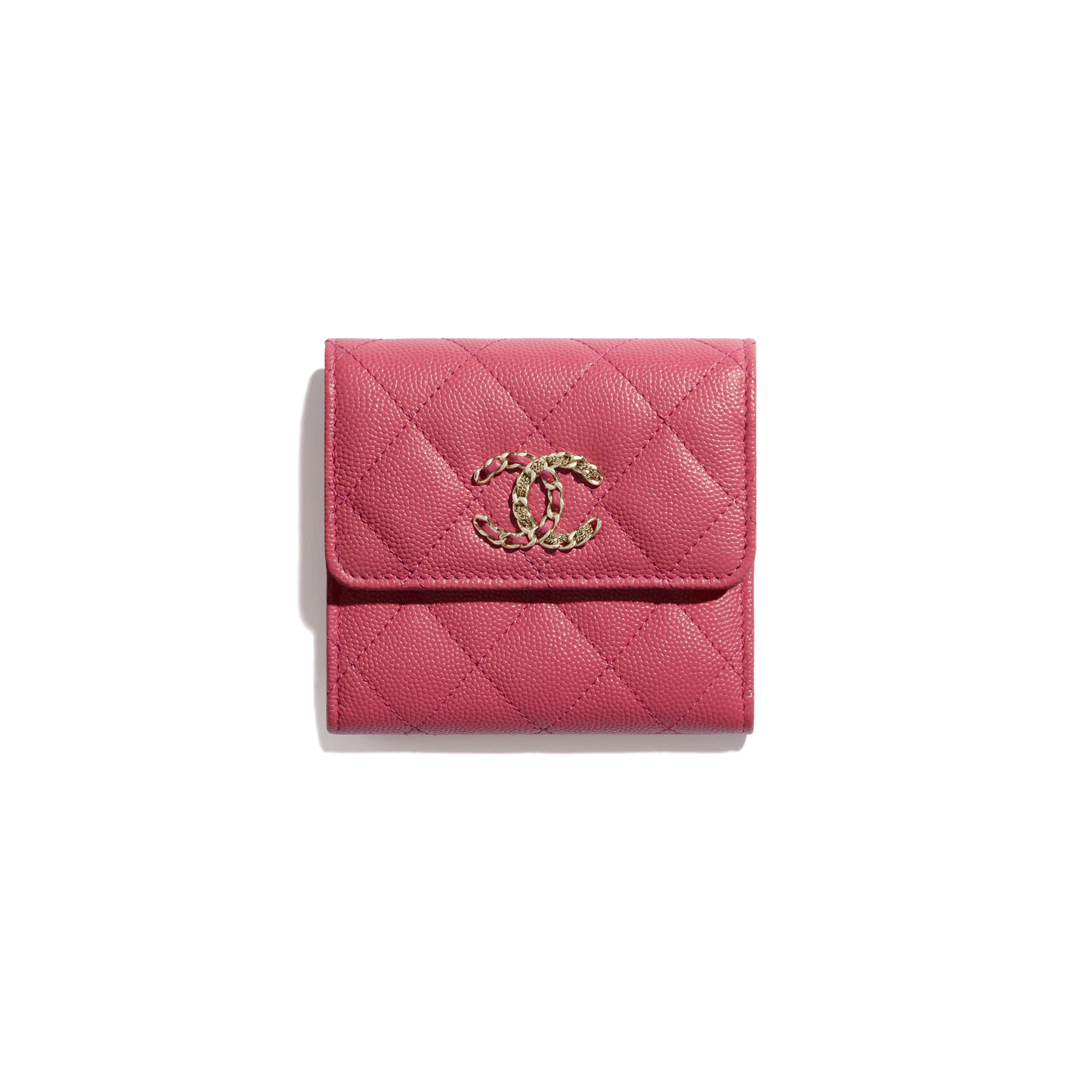 Small Flap Wallet - Pink - Grained Calfskin & Gold-Tone Metal - CHANEL - Default view - see standard sized version