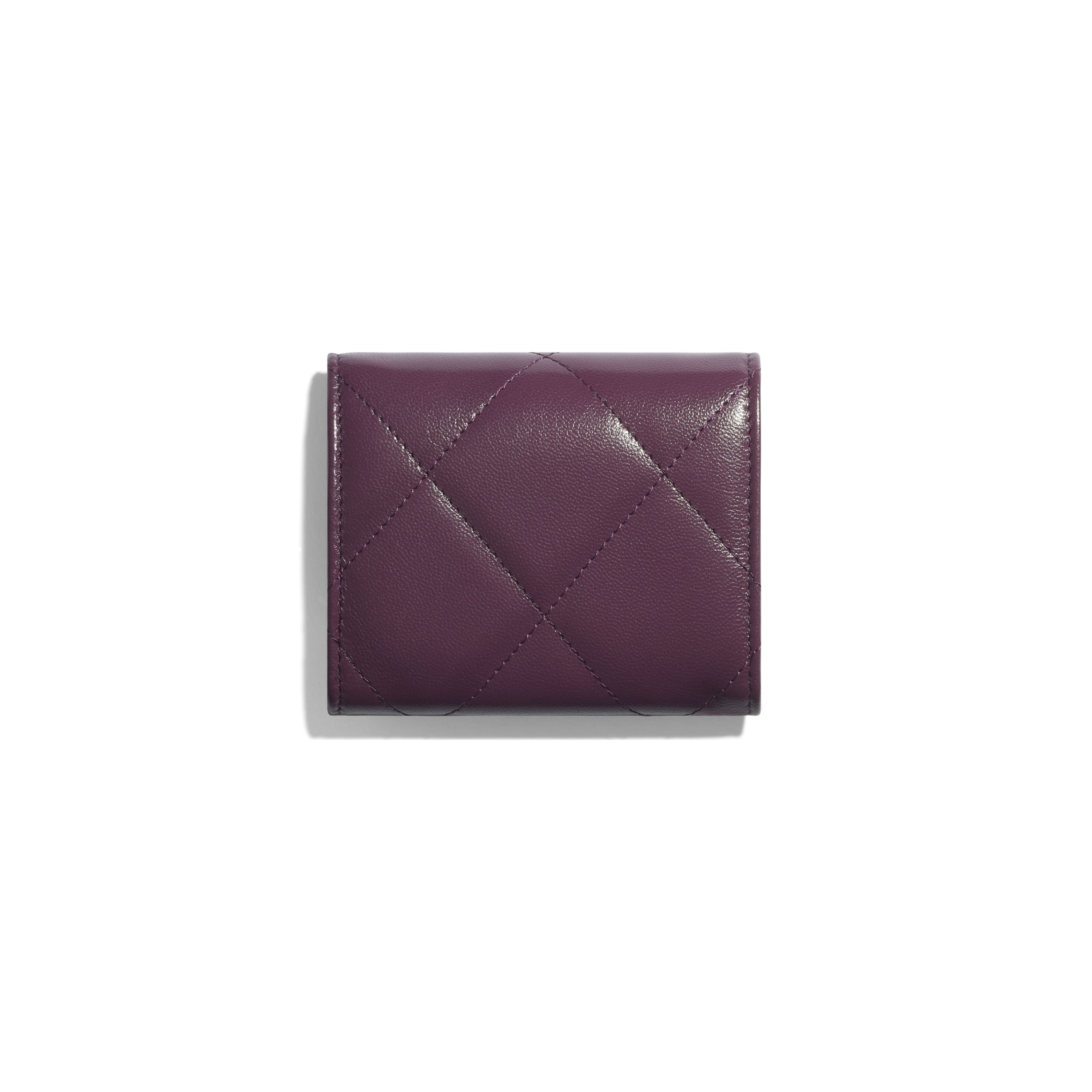 Small Flap Wallet - Purple - Shiny Goatskin & Gold-Tone Metal - CHANEL - Alternative view - see standard sized version