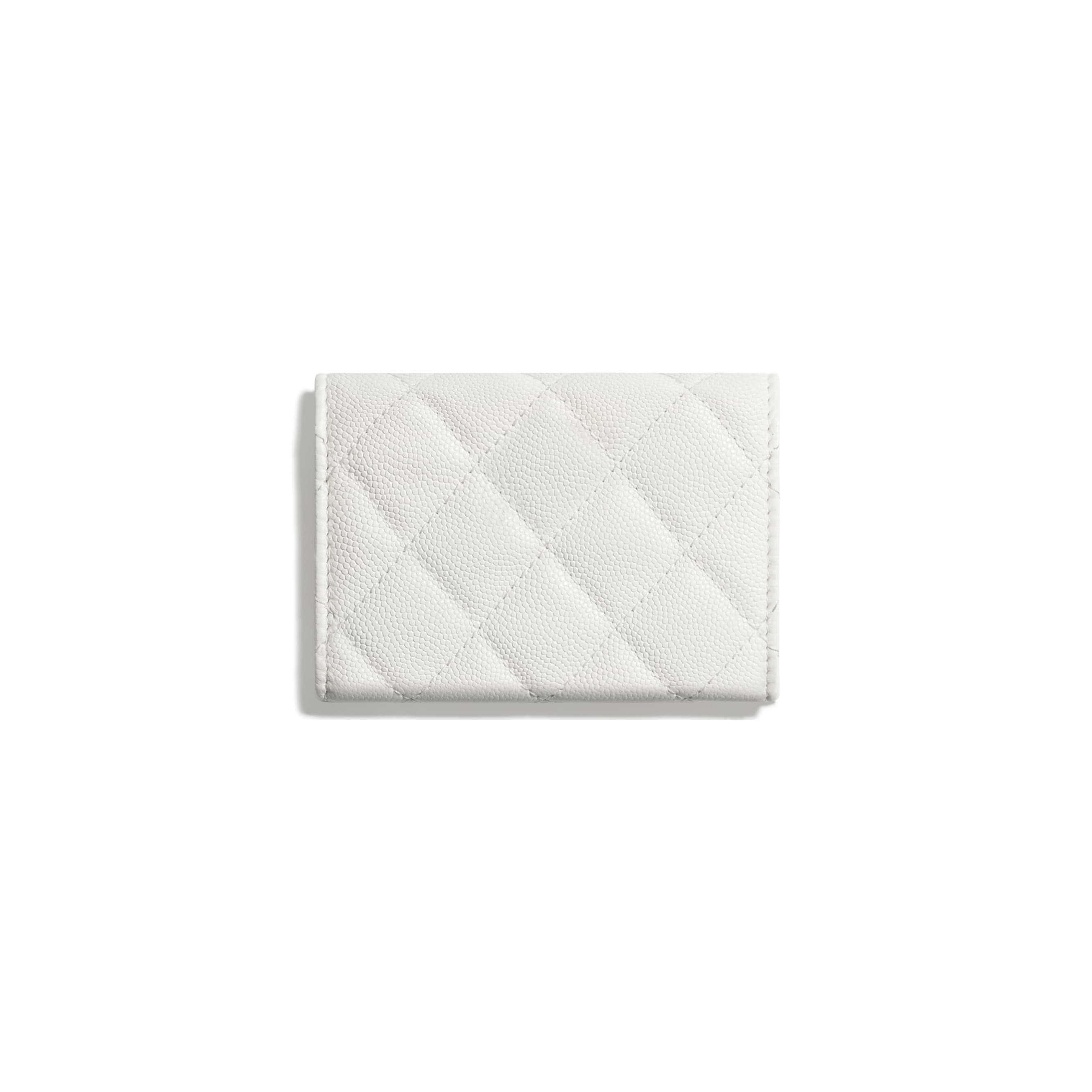 Small Flap Wallet - White - Shiny Grained Calfskin, Gold-Tone & Lacquered Metal  - CHANEL - Alternative view - see standard sized version