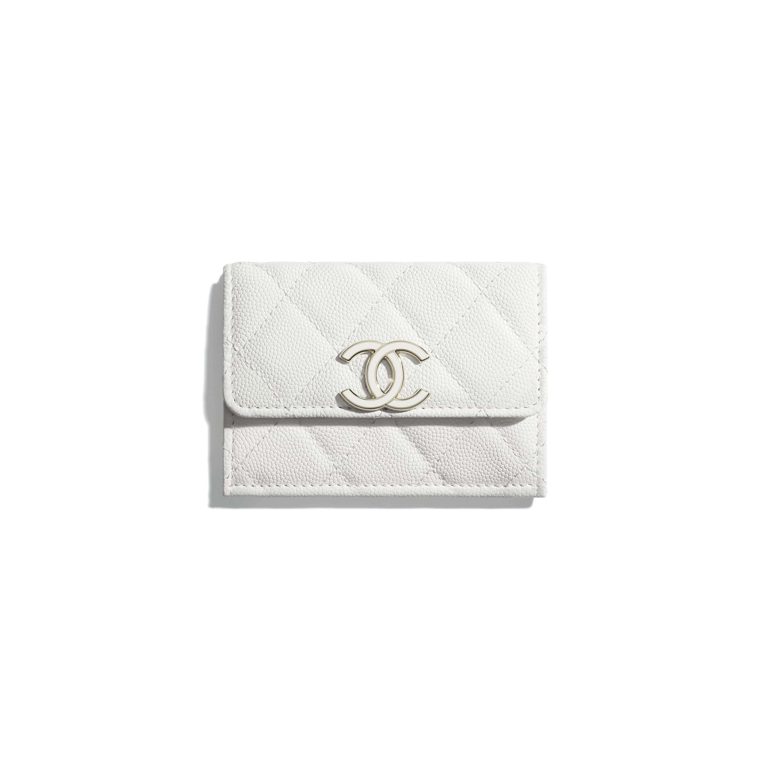 Small Flap Wallet - White - Shiny Grained Calfskin, Gold-Tone & Lacquered Metal  - CHANEL - Default view - see standard sized version