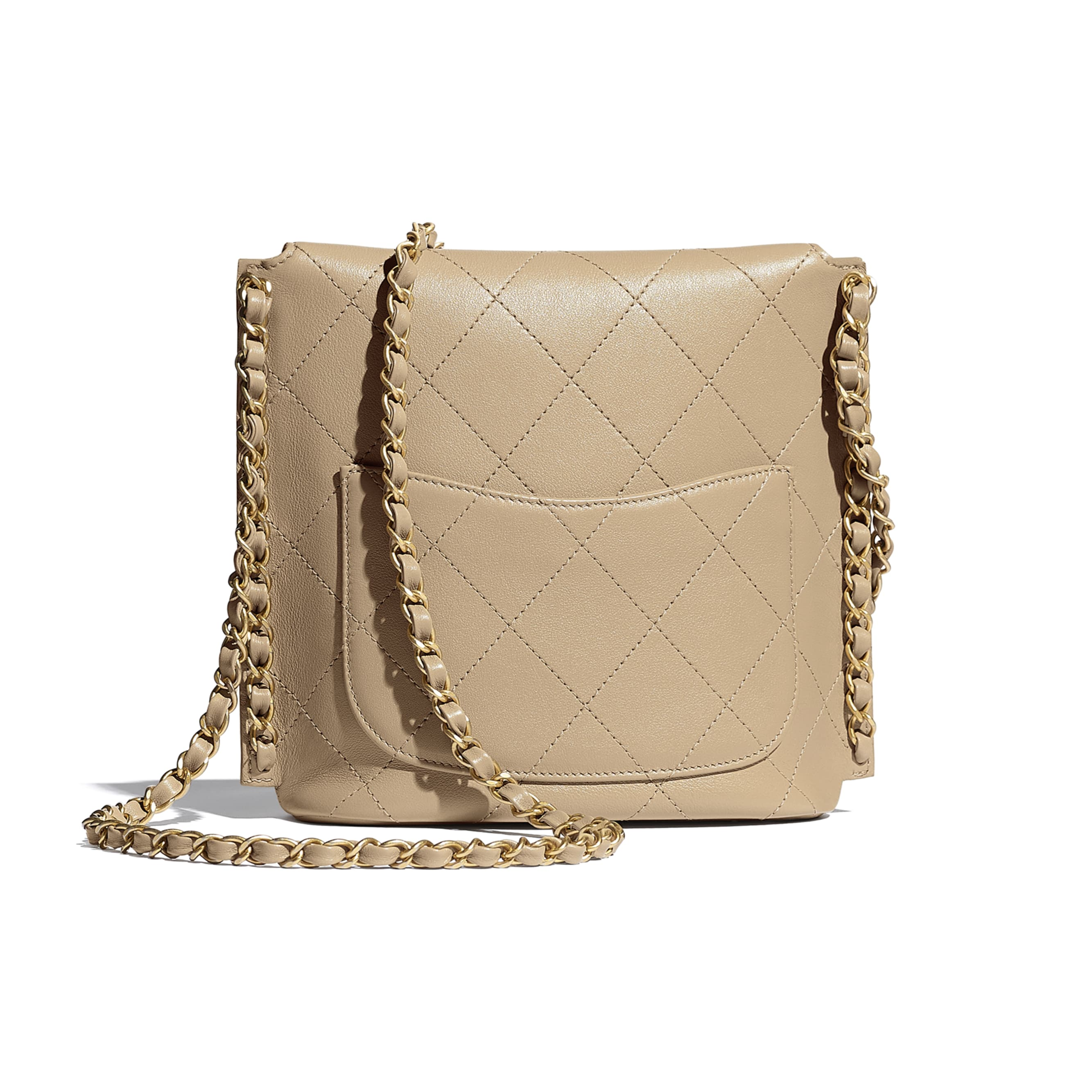 Small Hobo Bag - Beige - Calfskin & Gold-Tone Metal - CHANEL - Alternative view - see standard sized version