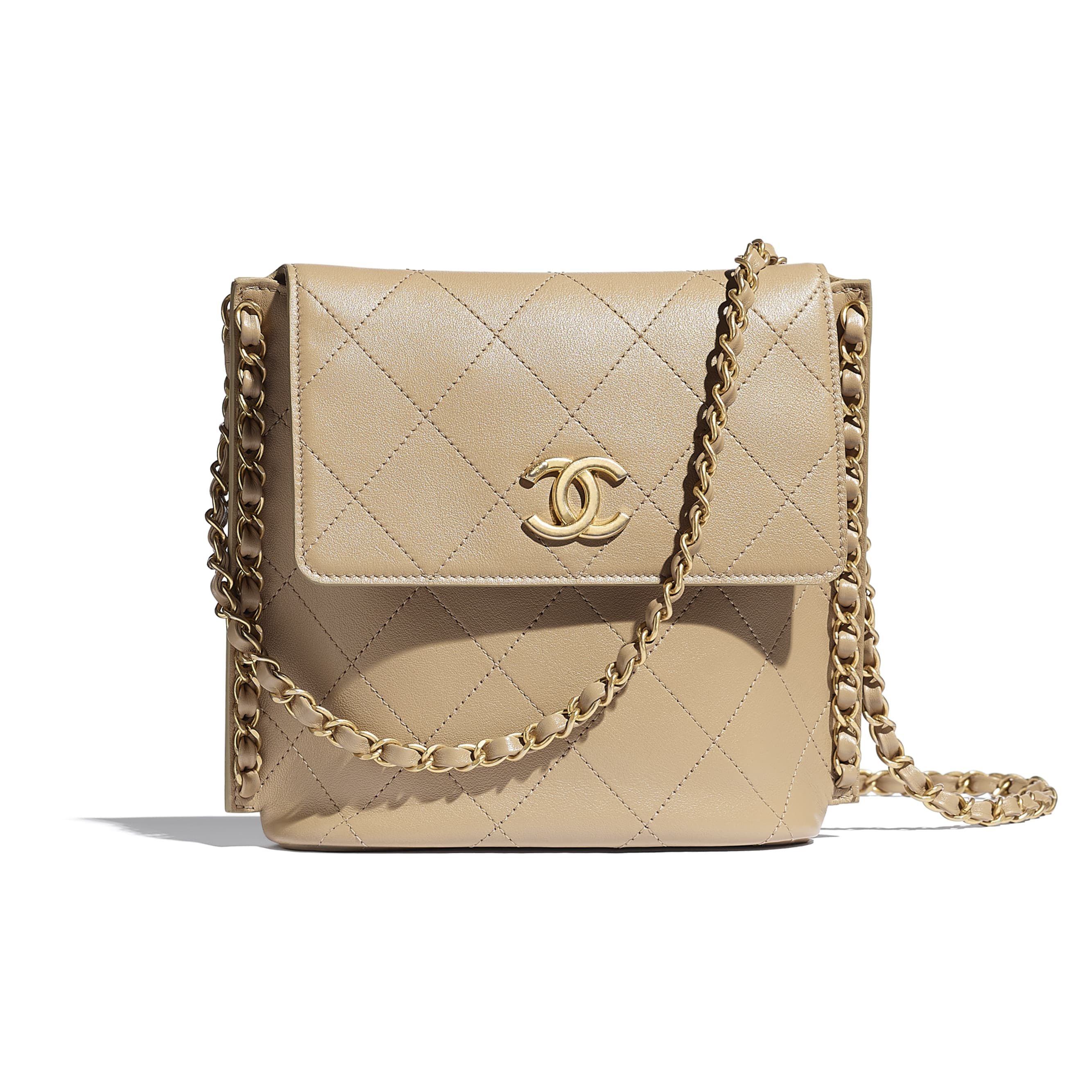 Small Hobo Bag - Beige - Calfskin & Gold-Tone Metal - CHANEL - Default view - see standard sized version