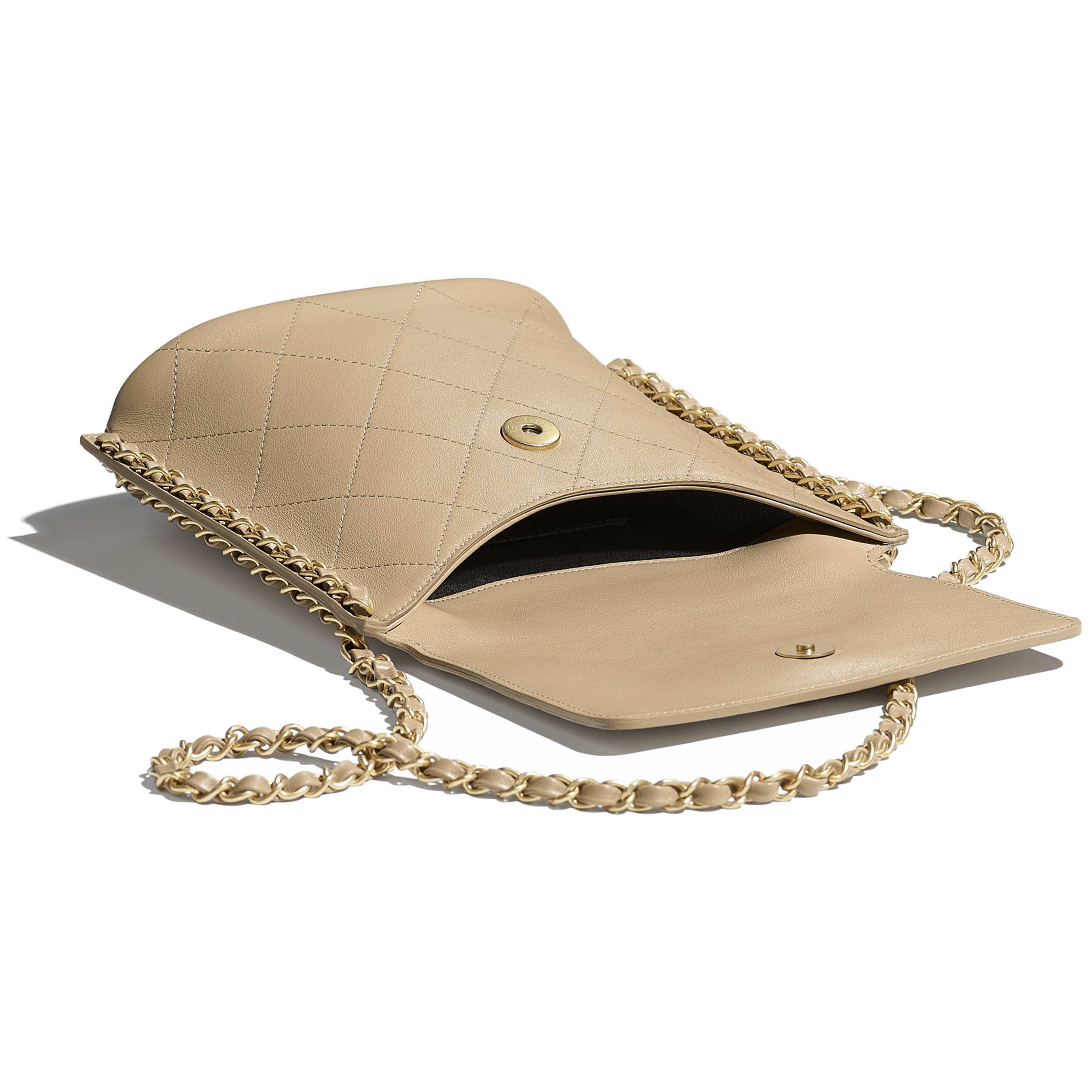 Small Hobo Bag - Beige - Calfskin & Gold-Tone Metal - CHANEL - Other view - see standard sized version