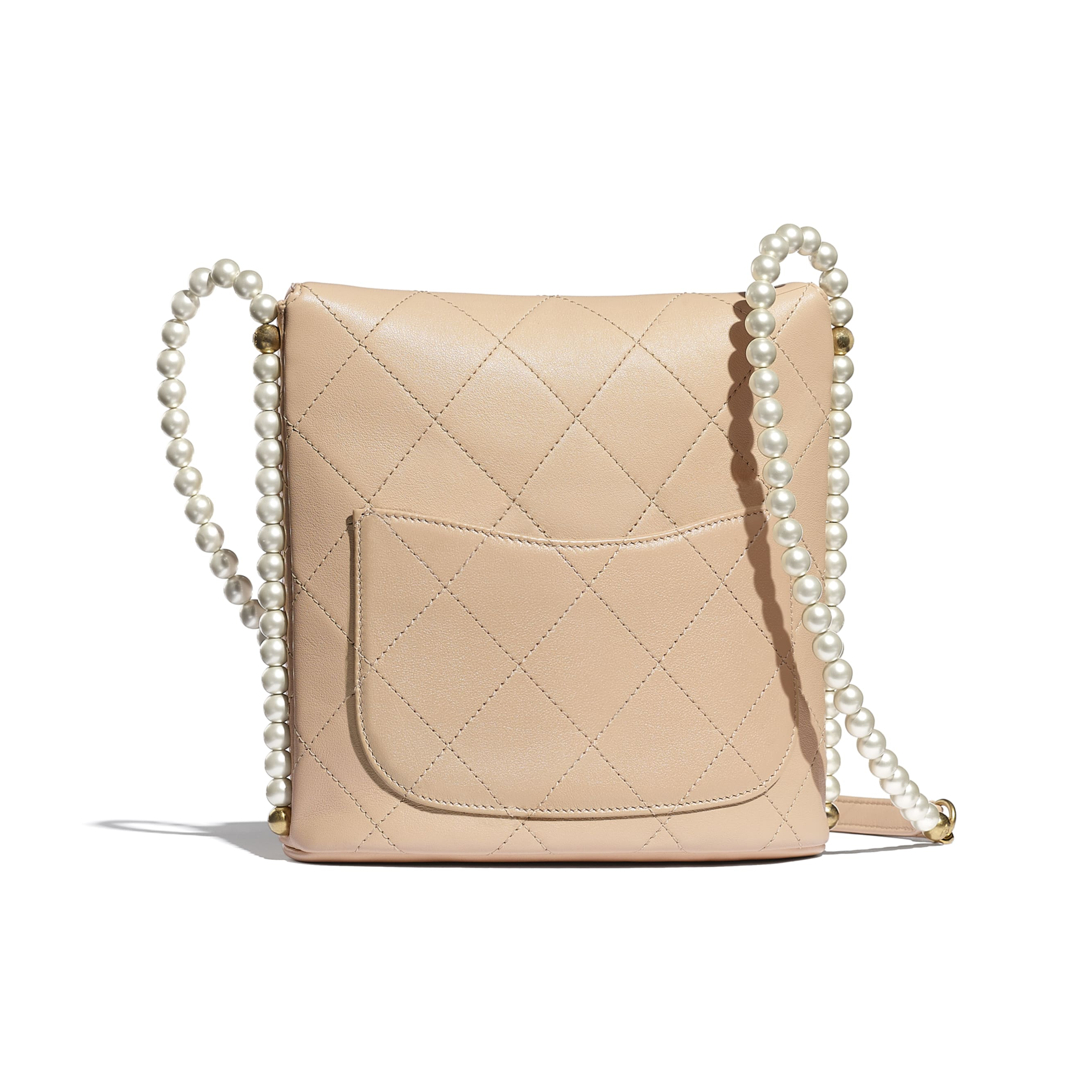 Small Hobo Bag - Beige - Calfskin, Imitation Pearls & Gold-Tone Metal - CHANEL - Alternative view - see standard sized version