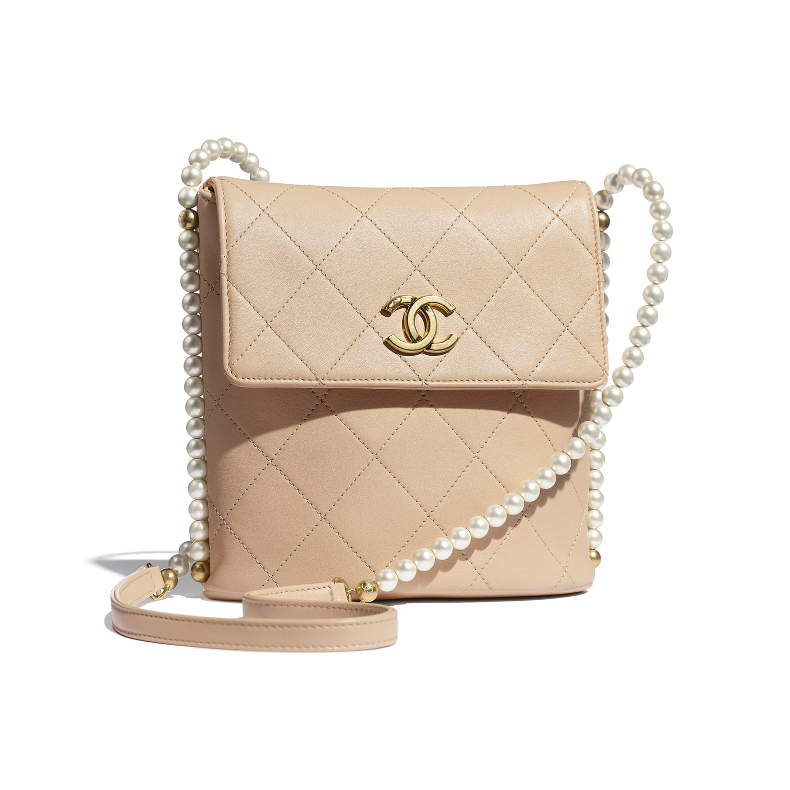 Small Hobo Bag - Beige - Calfskin, Imitation Pearls & Gold-Tone Metal - CHANEL - Default view - see standard sized version