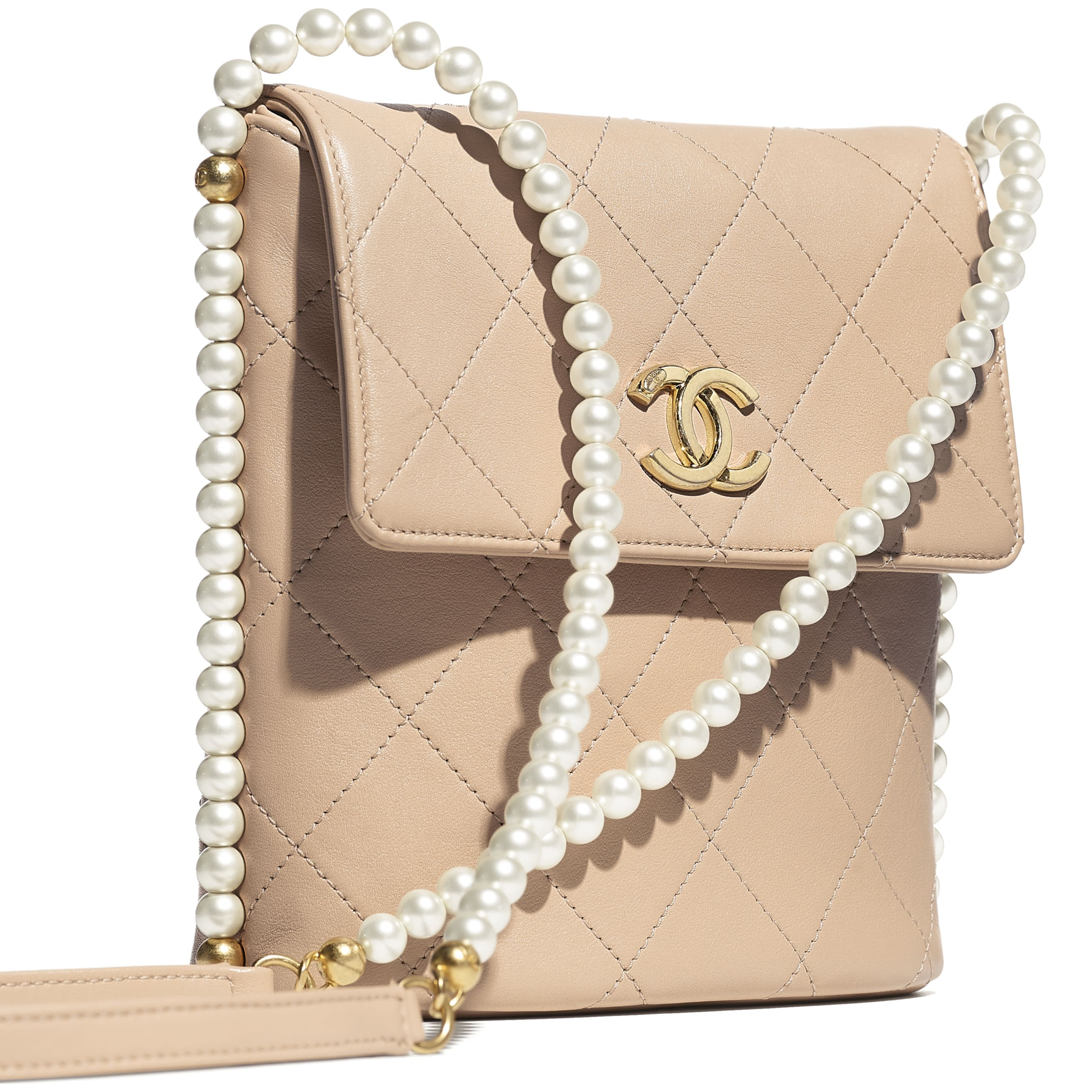 Small Hobo Bag - Beige - Calfskin, Imitation Pearls & Gold-Tone Metal - CHANEL - Extra view - see standard sized version
